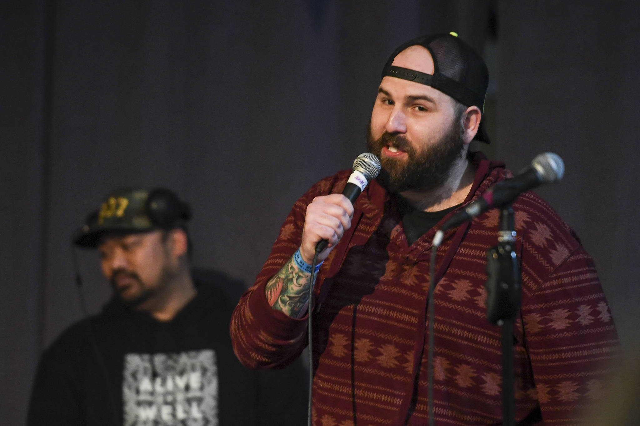 Glenn Ojard performs during the Killah Priest of Wu Tang Southeast Tour at the Juneau Arts & Culture Center on Friday, Dec. 20, 2019. (Michael Penn | Juneau Empire)