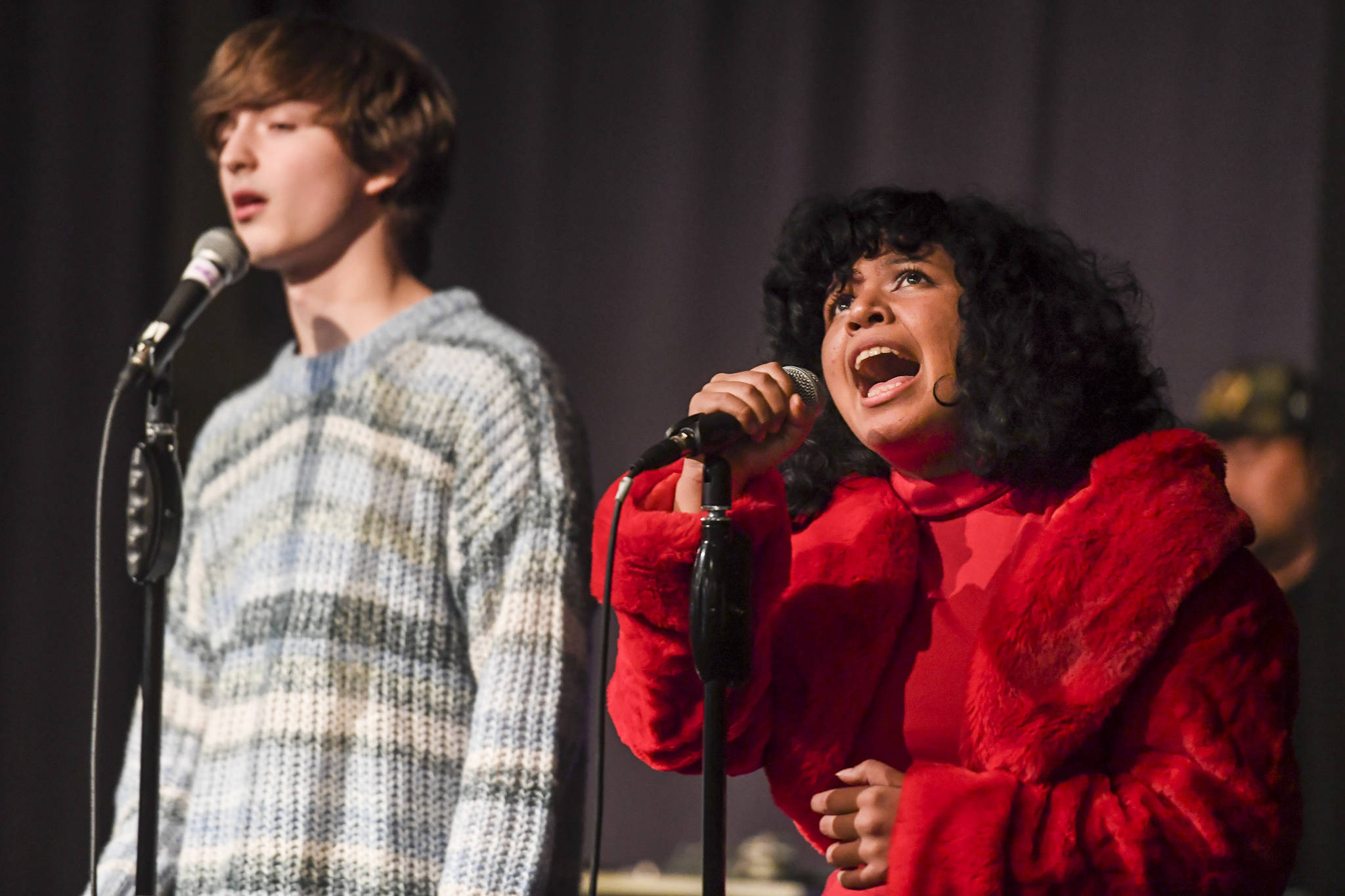 Zansler Kotlarov and Eliza Valentine perform during the Killah Priest of Wu Tang Southeast Tour at the Juneau Arts & Culture Center on Friday, Dec. 20, 2019. (Michael Penn | Juneau Empire)