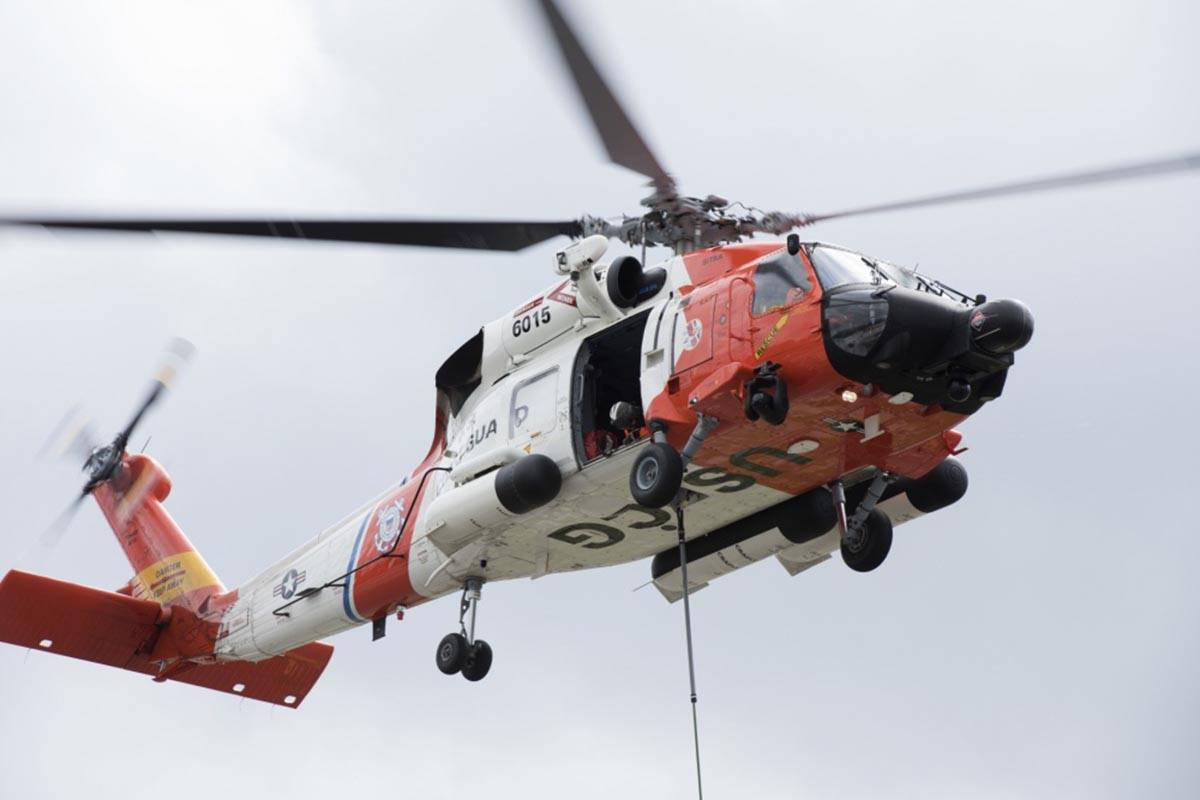 A helicopter crew from Coast Guard Air Station Sitka carries out training in Juneau, Alaska, June 26, 2018. (Petty Officer 1st Class Jon-Paul Rios | U.S. Coast Guard)