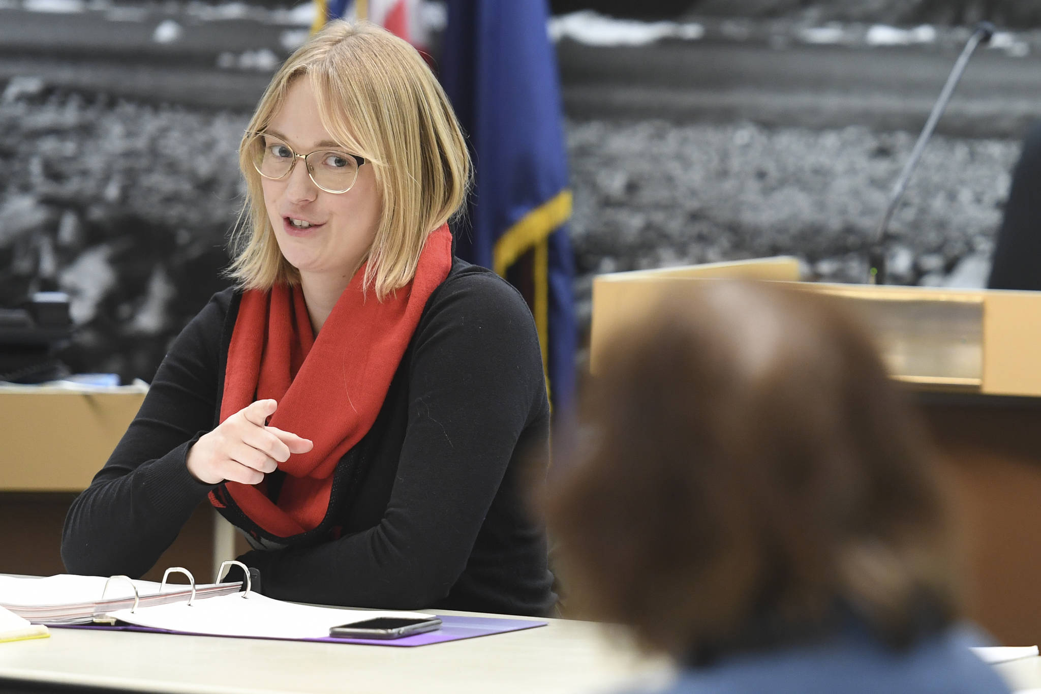 Assemblymember Carole Triem chairs the Visitor Industry Task Force meeting in the Assembly chambers on Tuesday, Jan. 7, 2020. (Michael Penn | Juneau Empire)