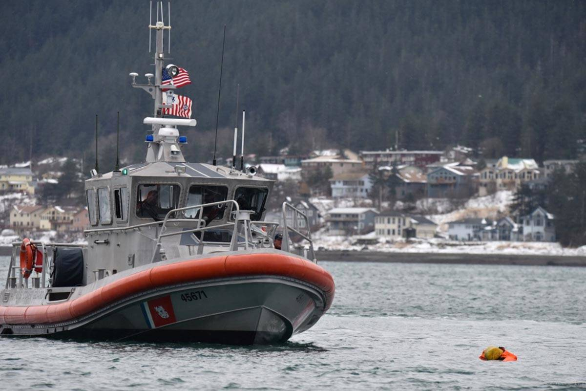 Members of Coast Guard Station Juneau aboard a 45-foot response boat—Medium conduct drills near Juneau, Jan. 24, 2018. (Petty Officer 1st Class Jon-Paul Rios | U.S. Coast Guard)