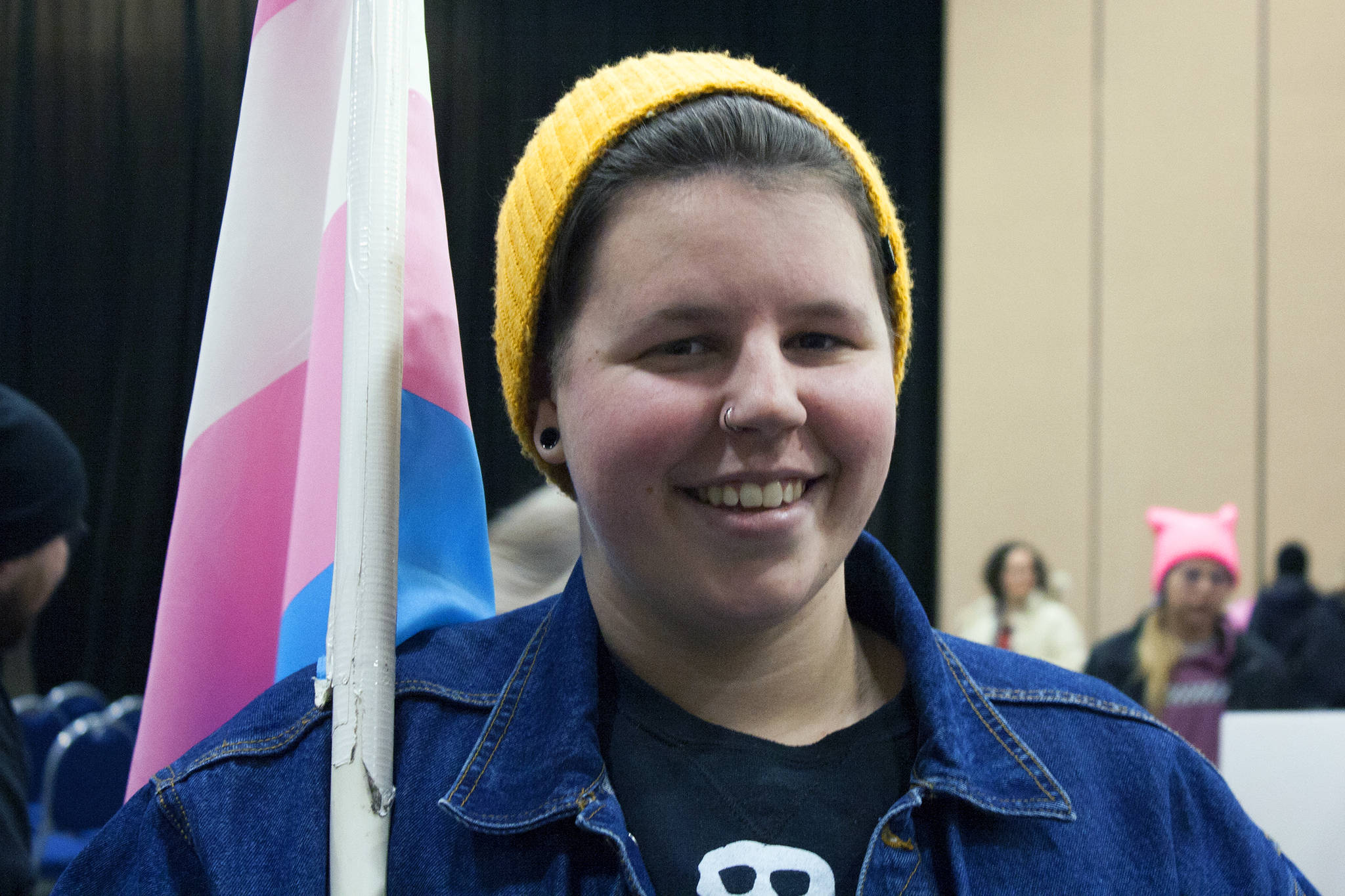 Ty Shae smiles after participating in the 2020 Women's March, Saturday, Jan. 18. The march started at the capitol, but it quickly made its way to Centennial Hall. (Ben Hohenstatt | Juneau Empire)