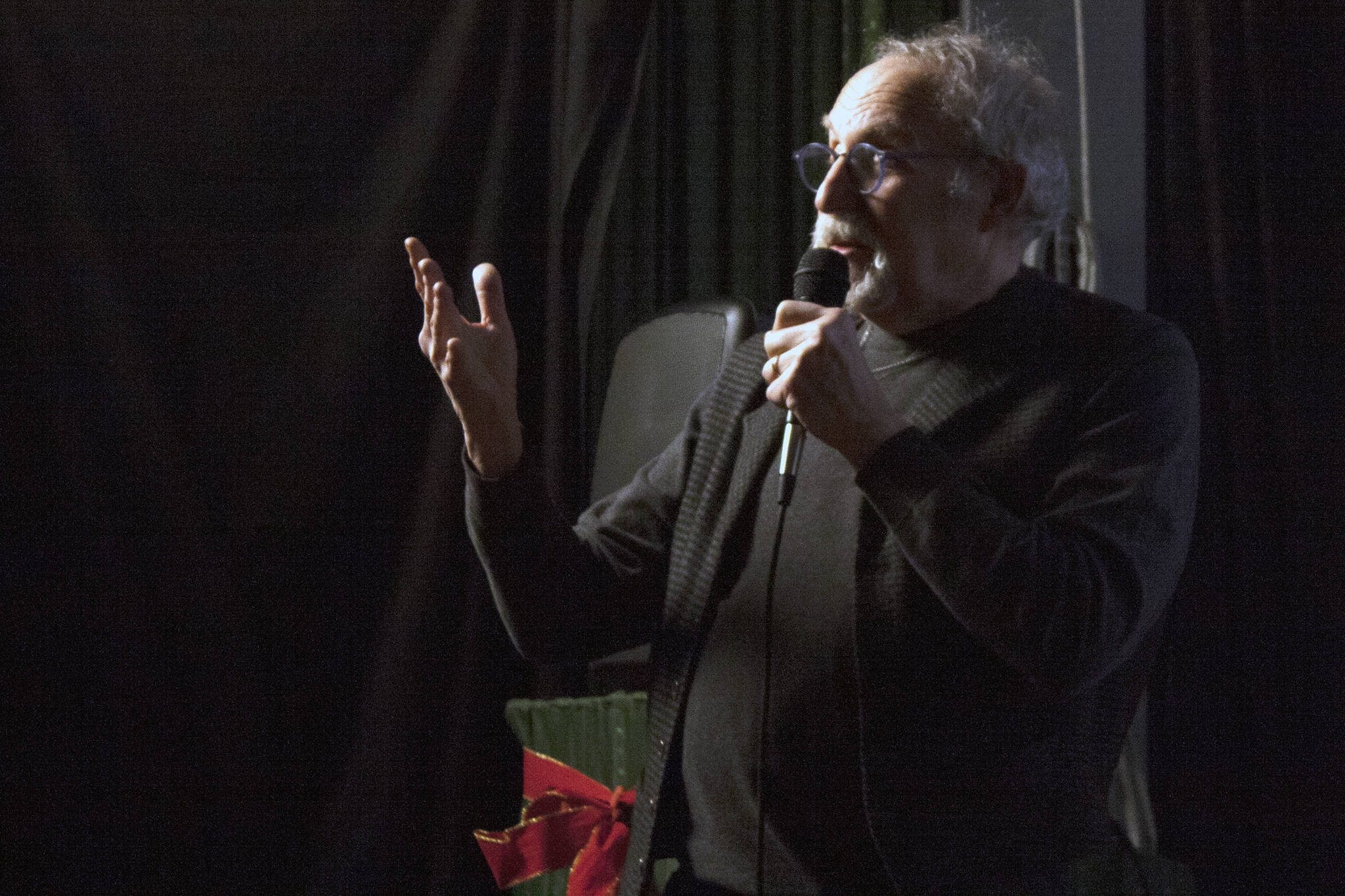 David George Gordon, a public speaker, naturalist and author known as the Bug Chef, speaks at the Gold Town Theater during a Science On Screen event Saturday, Jan. 18, 2020. (Ben Hohenstatt | Juneau Empire)