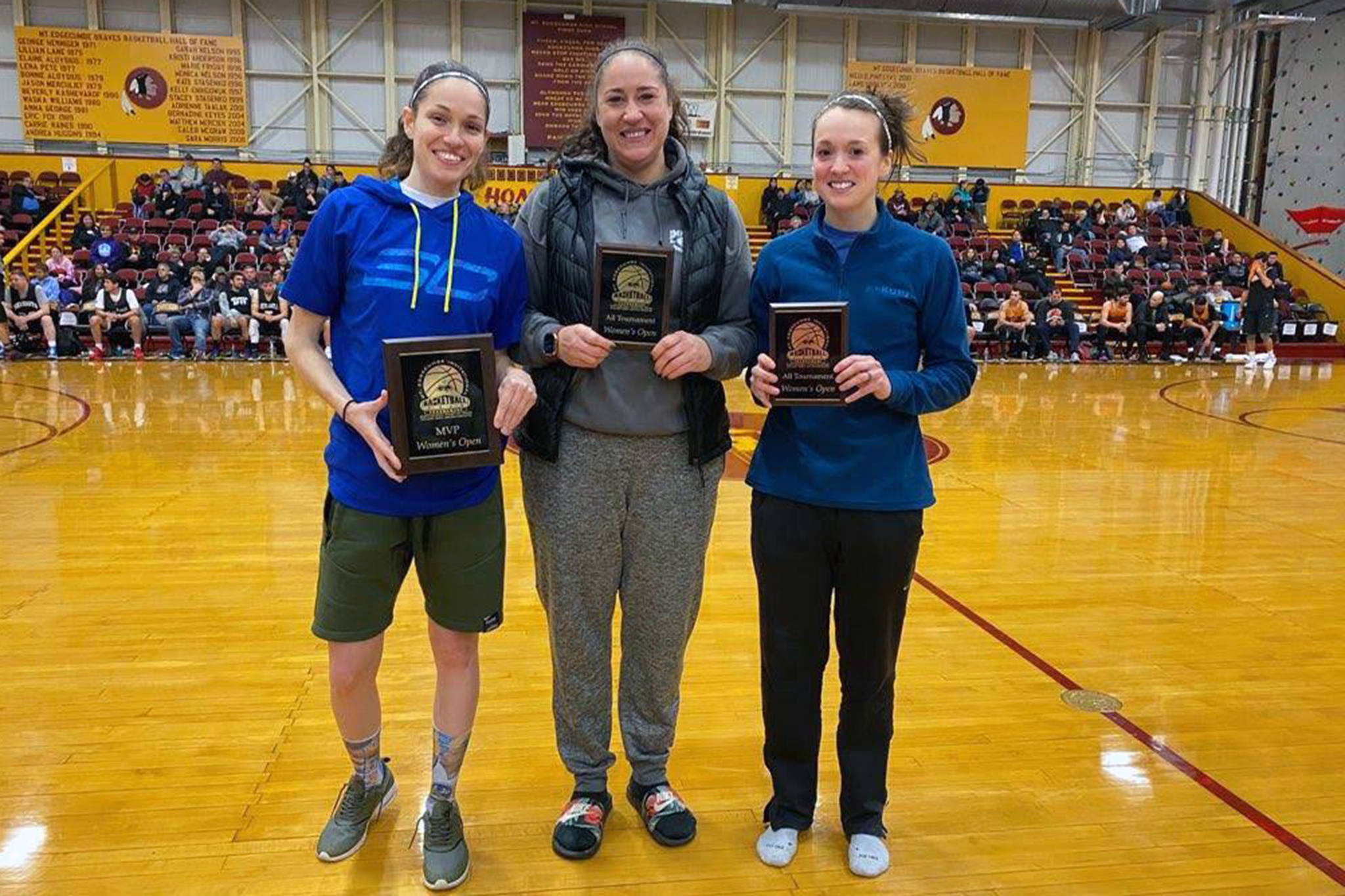 Mariah Simpkins, Danielle Larson and Nani Weimer hold their all-tournament plaques after the Mt. Edgecumbe Invitational. (Courtesy Photo | Juneau Monstarz)