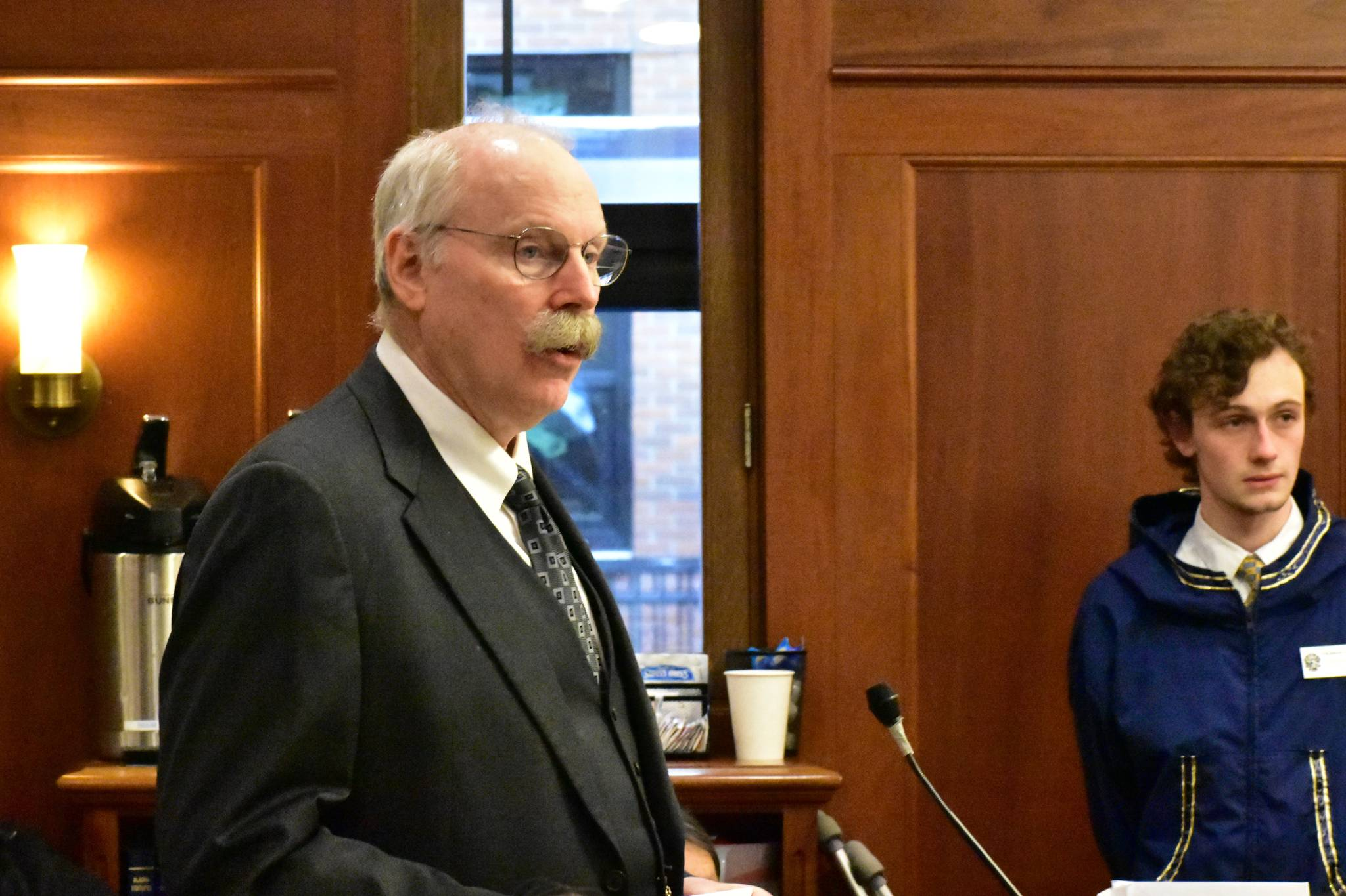 Sen. Bert Stedman, R-Sitka, speaks in support of overriding Gov. Mike Dunleavy's vetoes during a joint session on Friday, Jan. 24, 2020. (Peter Segall | Juneau Empire)
