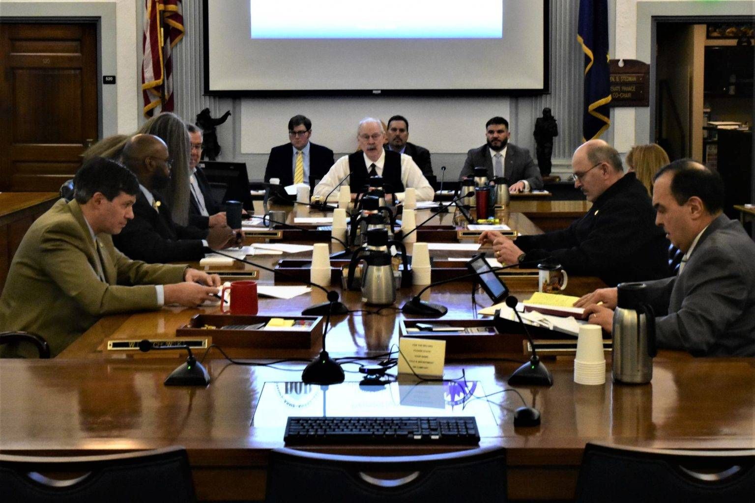 Senate Finance Committee Chairman Sen. Bert Stedman, R-Sitka, sits at the head of the table at a committee meeting on Thursday, Jan. 23, 2020. (Peter Segall | Juneau Empire)
