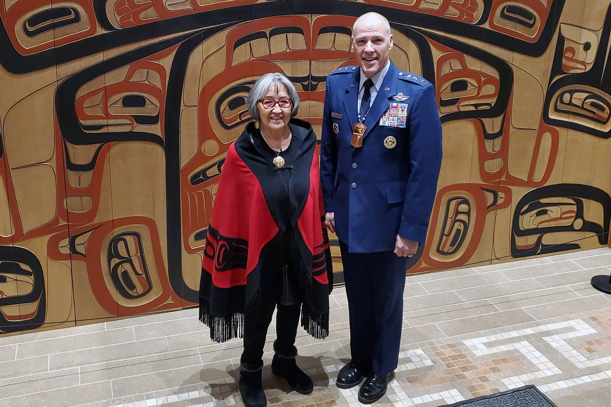 Ben Hohenstatt | Juneau Empire                                  Sealaska Heritage Institute President Rosita Worl and Air Force Lt. Gen. Tom Bussiere, Commander for Alaskan Command, stand together following a day of meetings at SHI's Walter Soboleff Building.