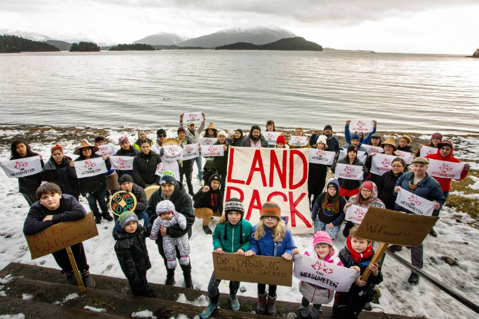 An event held in solidarity with Wet'suwet'en pipeline protests being held in British Columbia drew dozens of Juneauites to Auke Bay Recreation Area Sunday. (Courtesy Photo | Sigoop Price)
