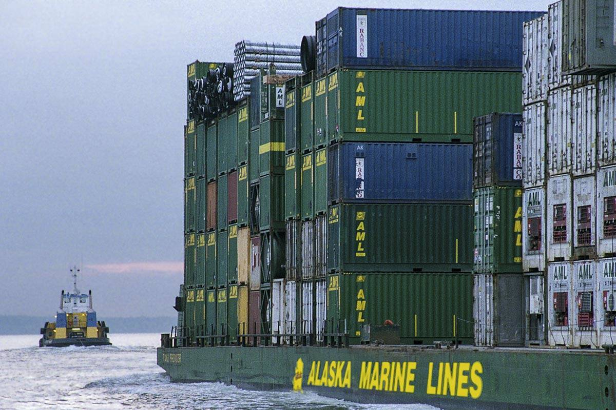 AML barge loaded with containers being towed to Alaska. (Courtesy photo | Alaska Marine Lines)