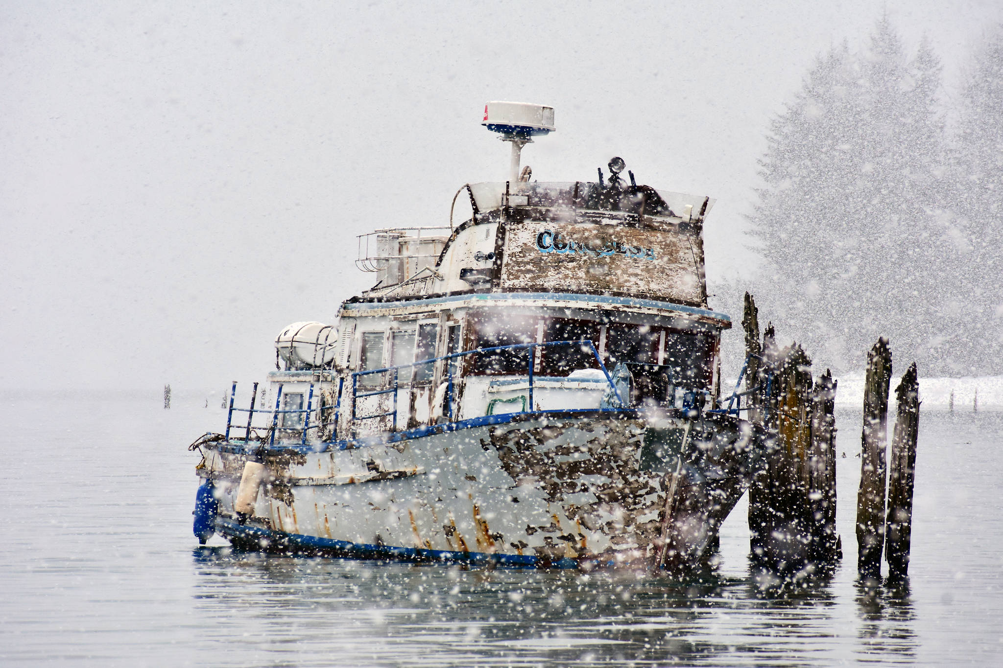 The vessel was grounded to clear a fouled propeller at Sandy Beach on Sunday, Feb. 24, 2020. (Peter Segall   Juneau Empire)