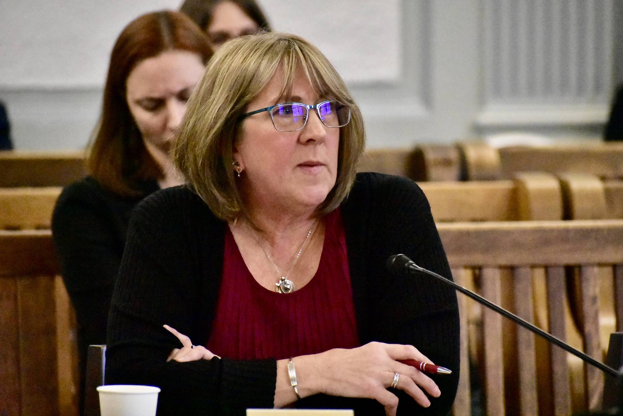 Gail Fenumiai, director of elections for the Alaska Division of Elections gives testimony to the Legislative Council committee on Tuesday, March 10, 2020. (Peter Segall | Juneau Empire)