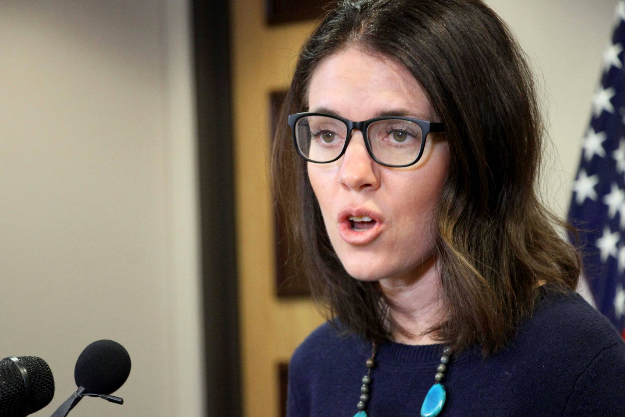 Dr. Anne Zink, the chief medical officer for the state of Alaska, addresses reporters at a news conference Monday, March 9, 2020, in Anchorage, Alaska. State officials said 23 people have been tested for the new coronavirus with no positive results. (AP Photo/Mark Thiessen)
