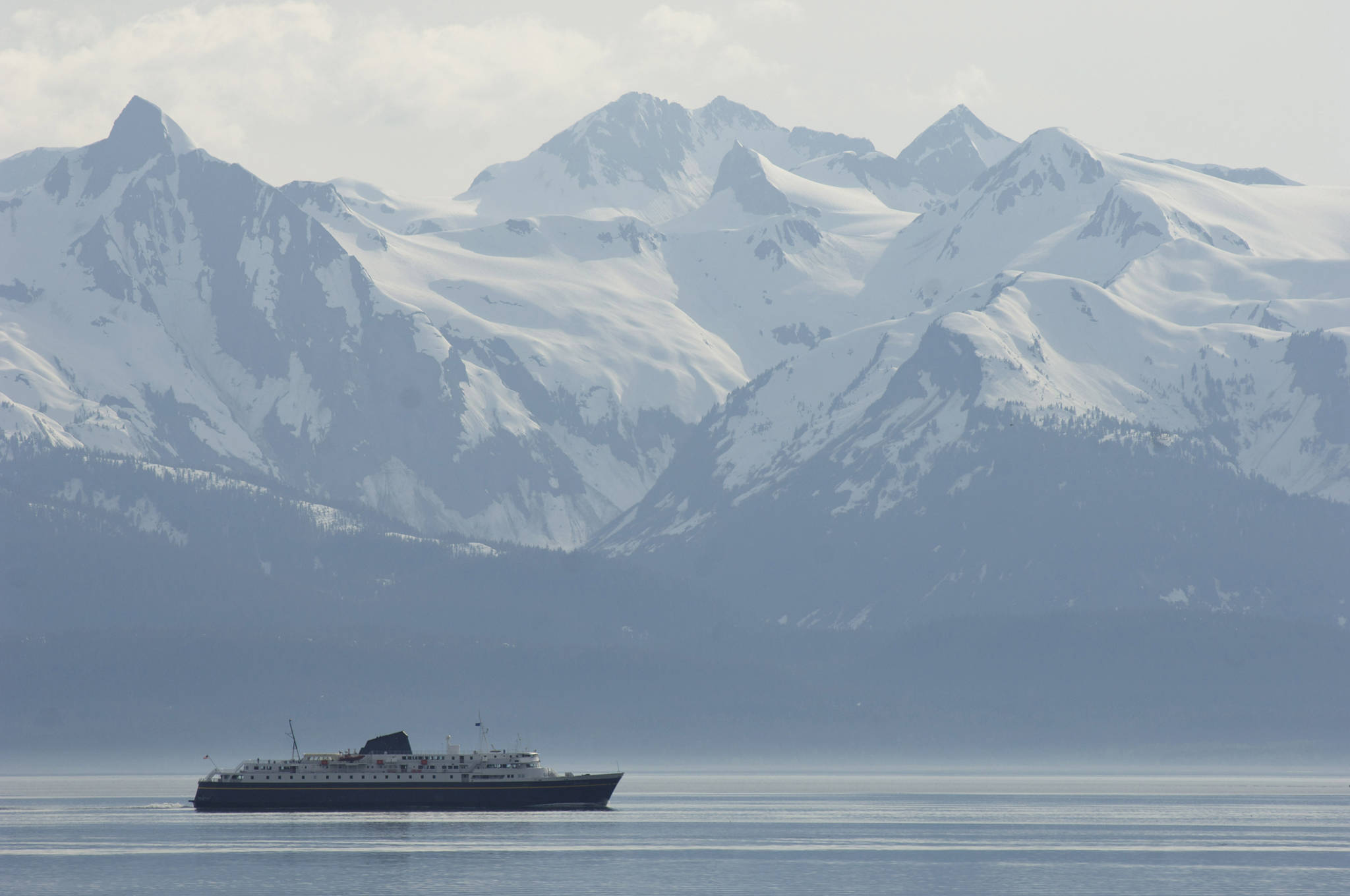 The Alaska Marine Highway ferry Malaspina heads up Lynn Canal toward Haines and Skagway from Juneau in 2008. (Michael Penn | Juneau Empire File)