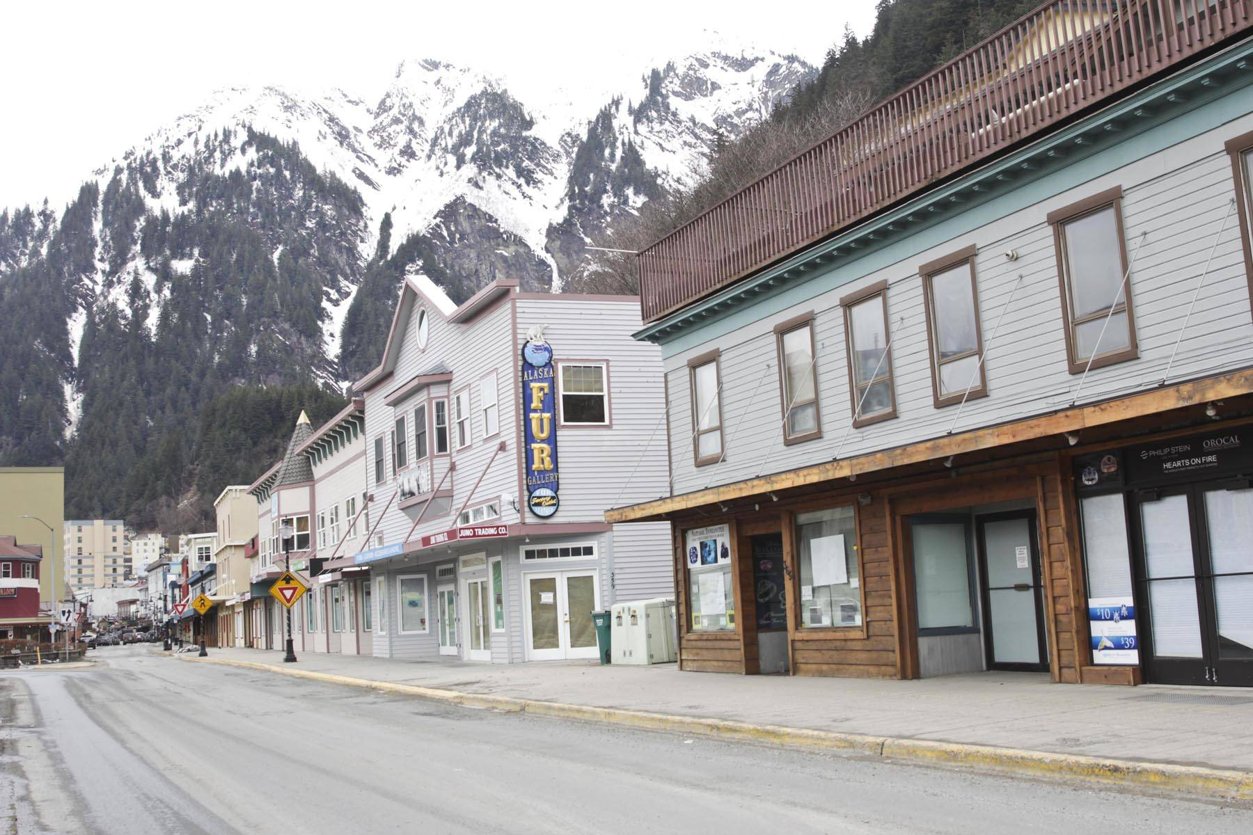 No cruises till July at the earliest mean these tourist-targeted shops downtown will likely remain shuttered for months longer, March 20, 2020. (Michael S. Lockett | Juneau Empire)