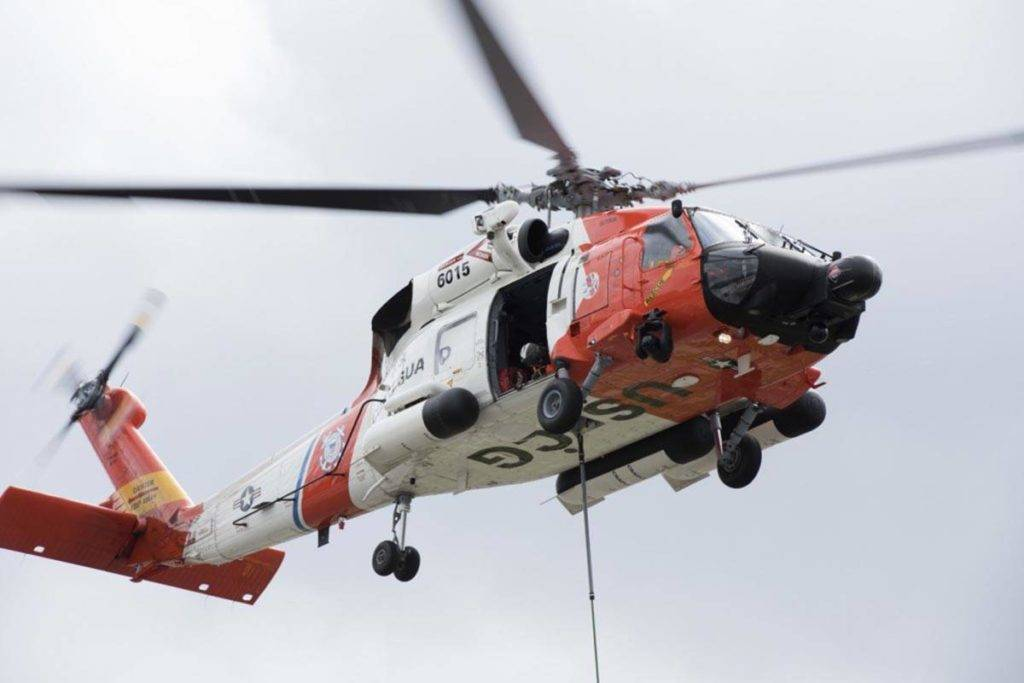 Petty Officer 1st Class Jon-Paul Rios | U.S. Coast Guard                                  An MH-60 Jayhawk crew from Coast Guard Air Station Sitka carries out training in Juneau on June 26, 2018.