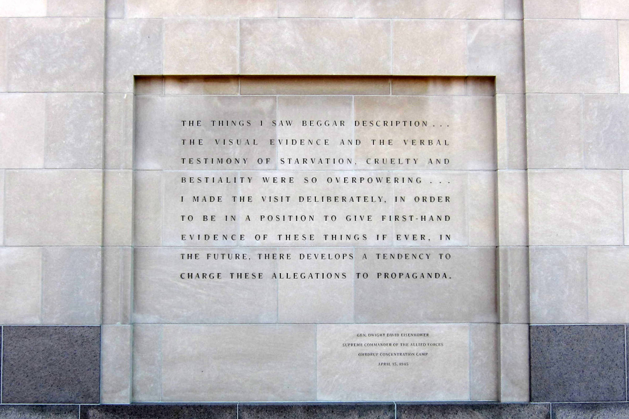 A quote by Dwight D. Eisenhower, on the exterior of the United States Holocaust Memorial Museum, located south of the National Mall in Washington, D.C. (Courtesy Photo | Public Domain, Creative Commons)