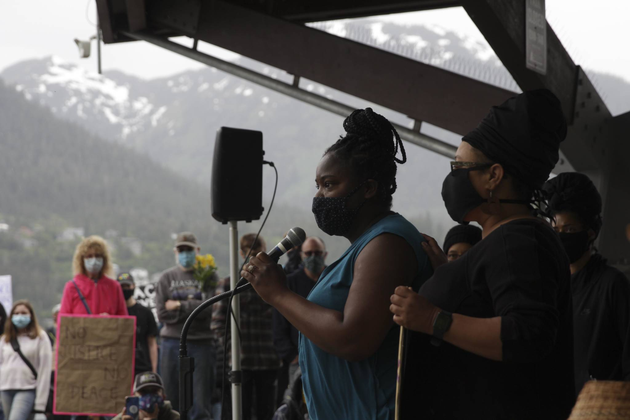 Leah Haskell-Cummins speaks during a rally for human rights and the sanctity of black lives in Marine Park on June 6, 2020, following the death of George Floyd in the custody of the Minneapolis Police Department. (Michael S. Lockett | Juneau Empire)