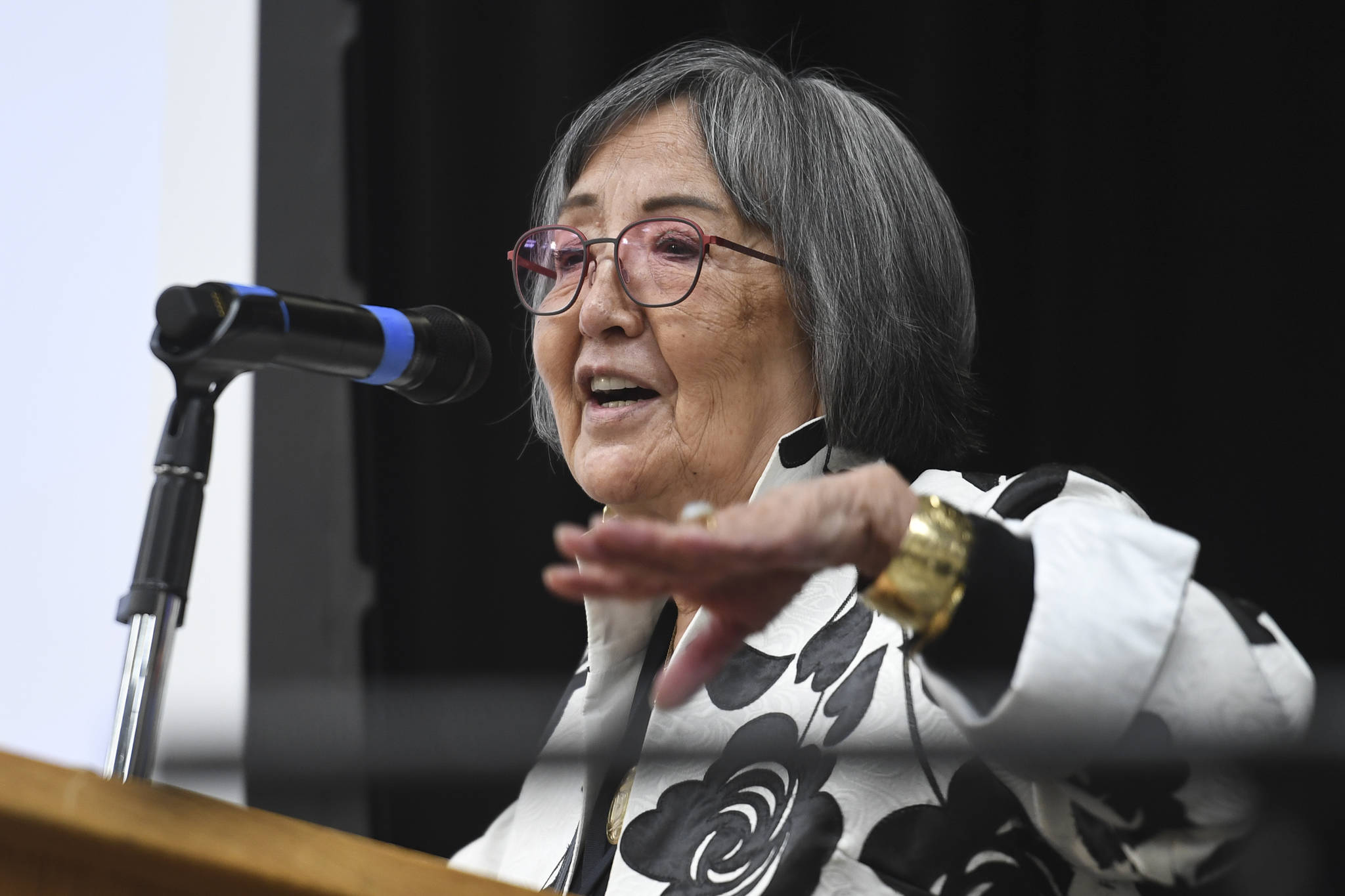 Rosita Worl, president of Sealaska Heritage Institute, gives a presentation at the Sharing Our Knowledge event in September 2019. (Michael Penn | Juneau Empire File)