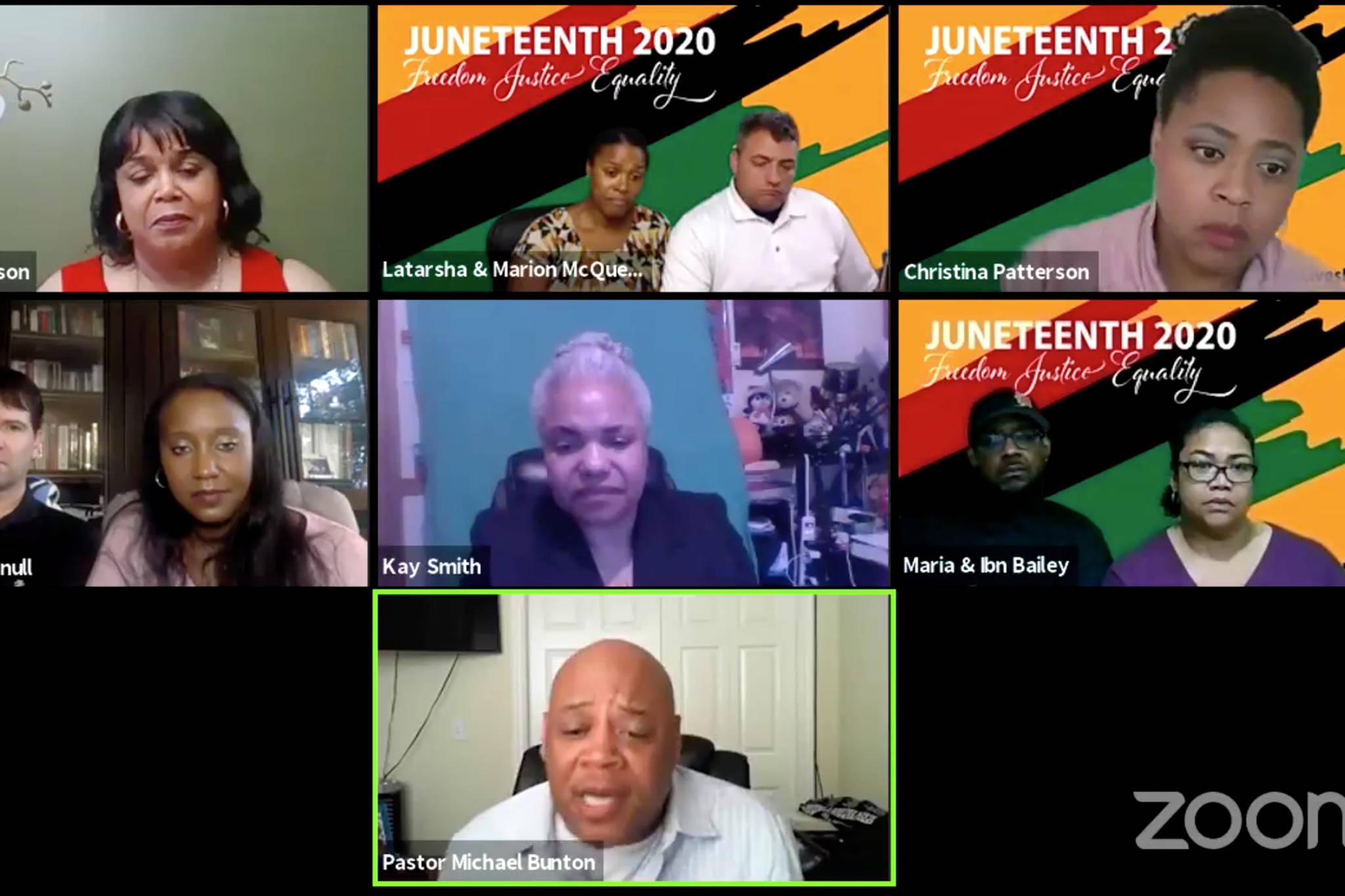 The Rev. Michael Bunton, pastor for Greater Friendship Baptist Church in Anchorage, speaks during Black Awareness Association, Juneau's, virtual Juneteenth community event. (Screenshot)