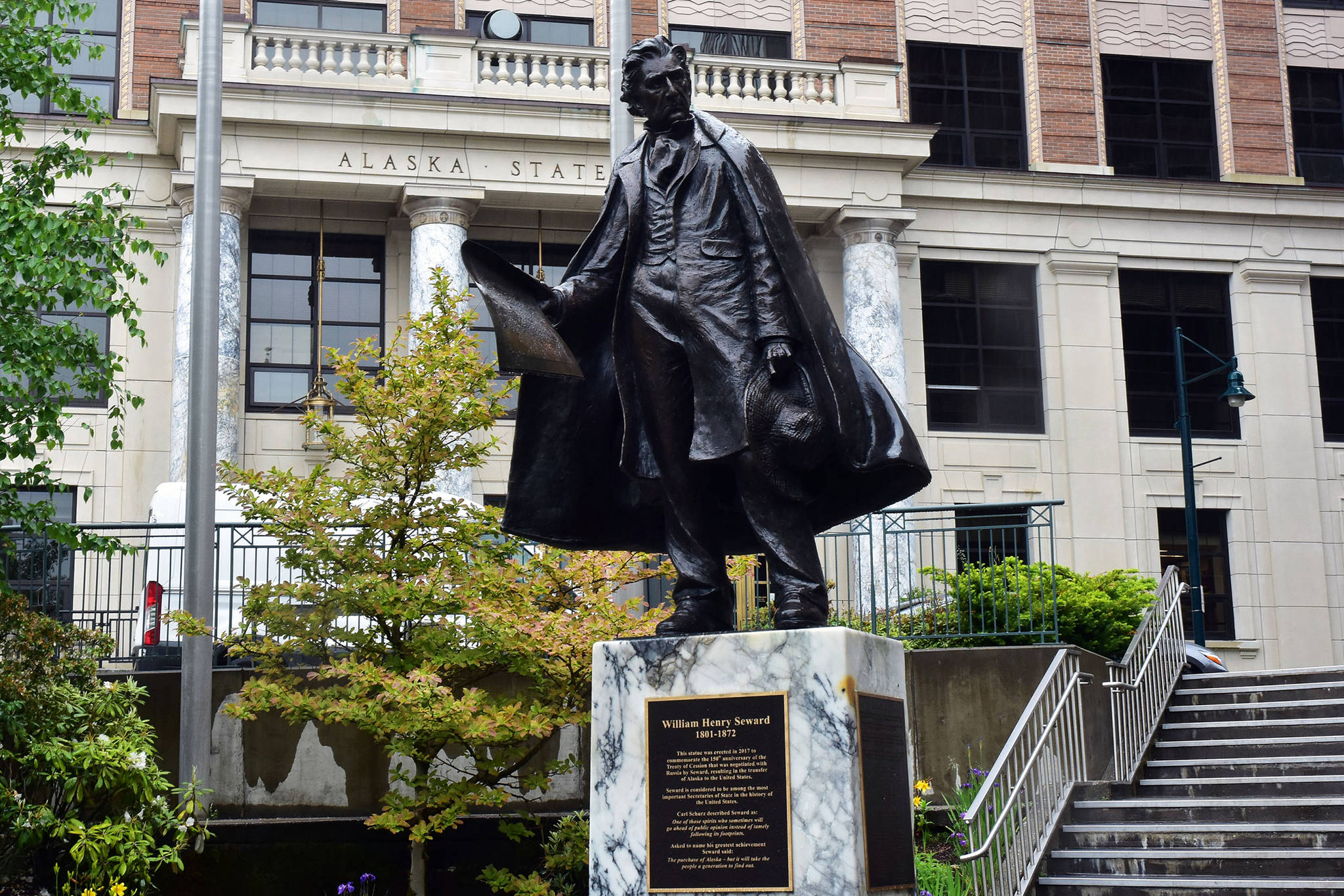A statue of William Henry Seward, former U.S. Senator and governor of New York, Vice President and Secretary of State who negotiated the purchase of the Alaska territory from the Russian Empire in 1867 on Tuesday, June 16, 2020. (Peter Segall | Juneau Empire)