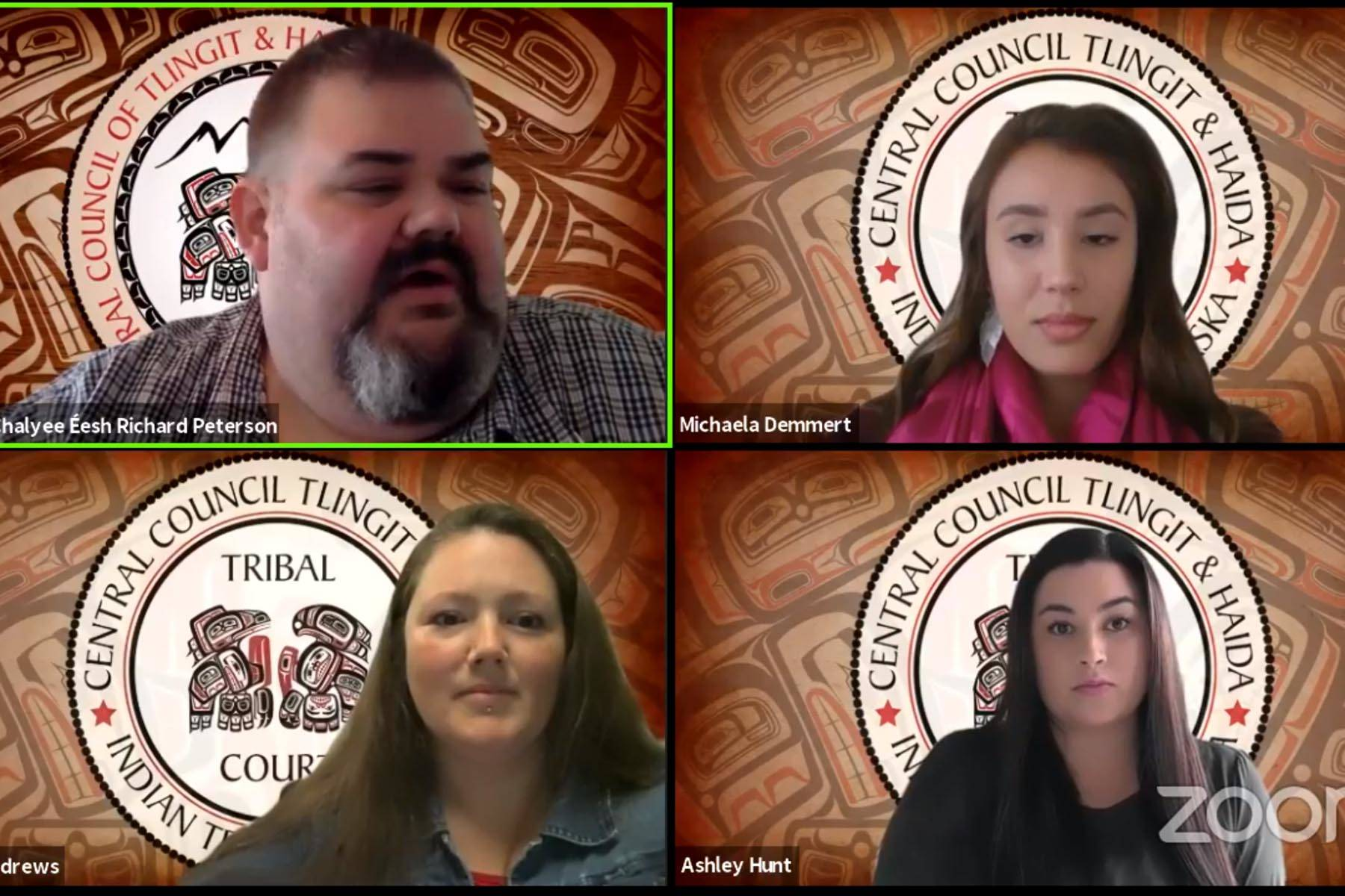 Screenshot                                Members of Tlingit and Haida's lunchtime chat discuss the tribal courts system over web conference on June 25.