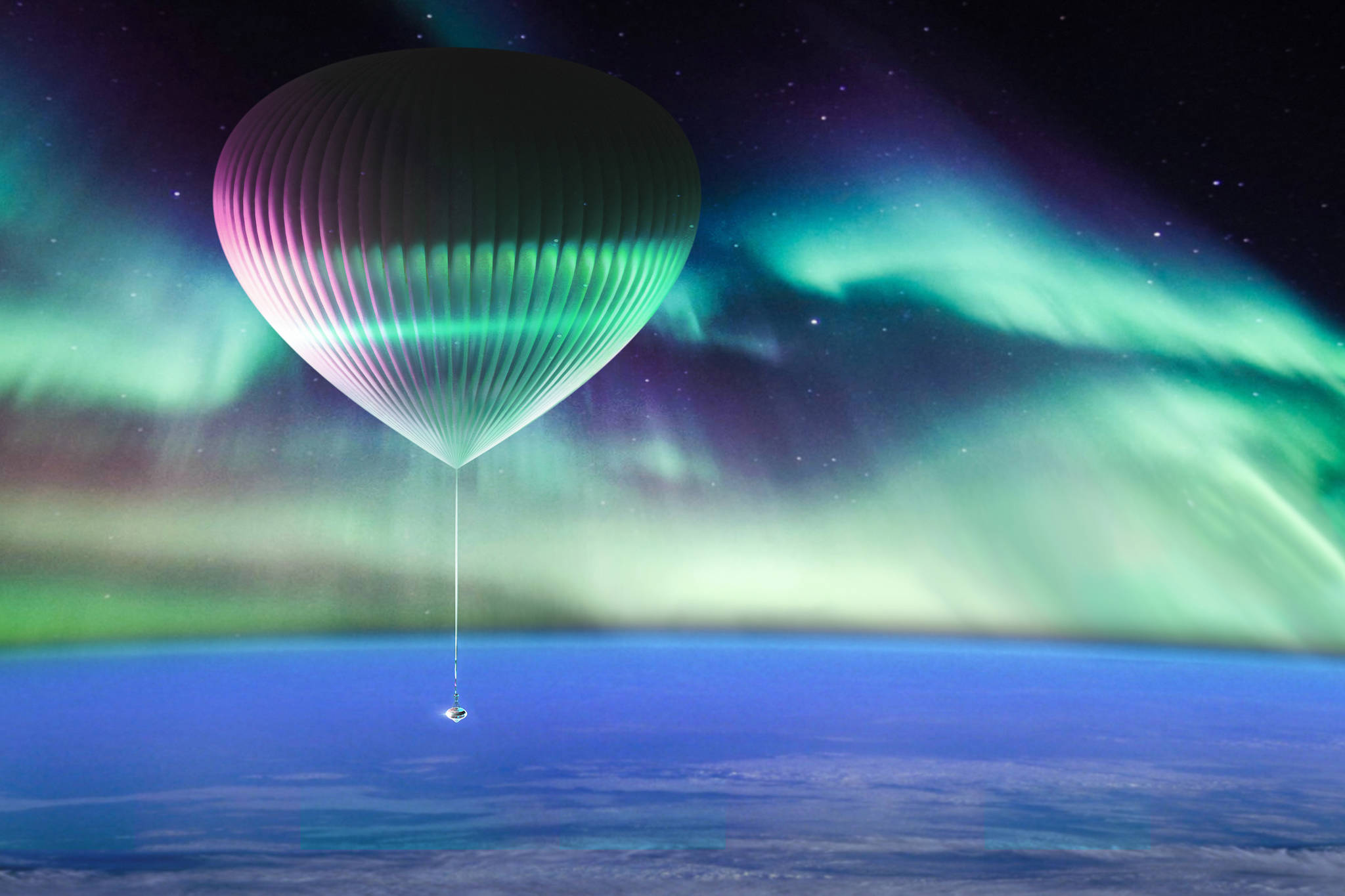 Artist's depiction of the Space Perspectives flights into the atmosphere. Pacific Spaceport Complex- Alaska will soon host the human spaceflight operation. (Courtesy photo / Alaska Aerospace Corporation)