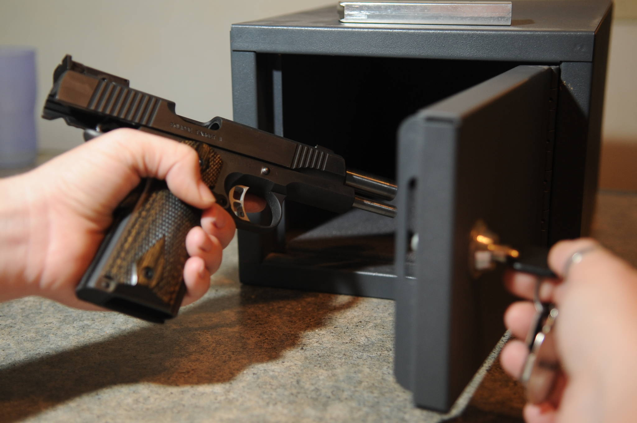 Unloaded firearms should be stored in a lockable gun cabinet, safe or locked vault. (U.S. Air Force Photo/Tech. Sgt. Thomas Dow)