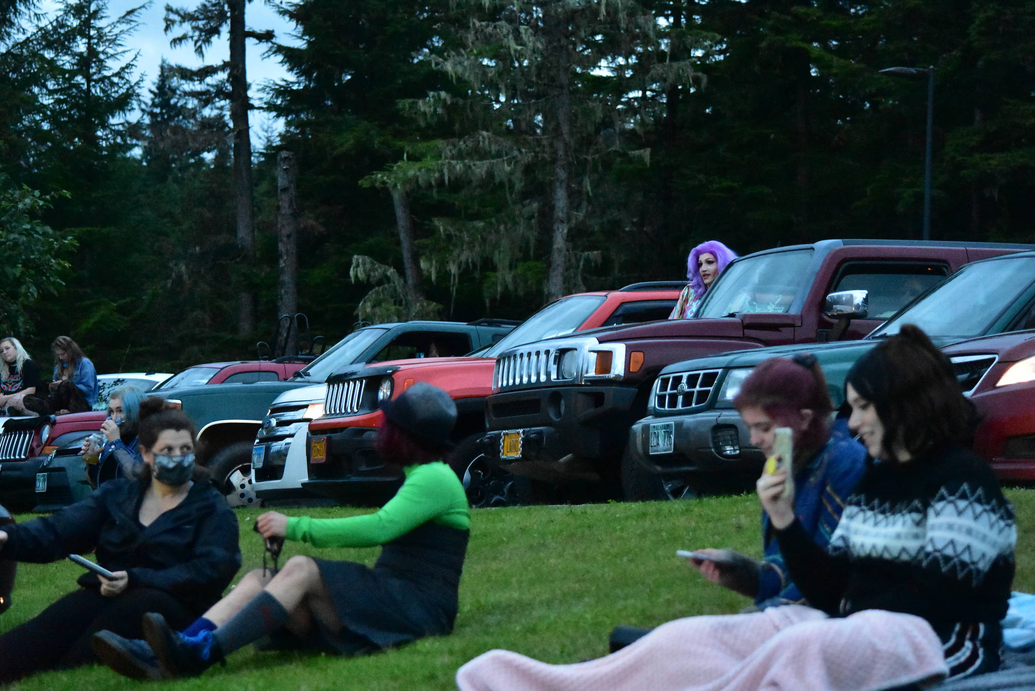 Peter Segall / Juneau Empire                                 Students and other spectators watch the Glitz Drive-in Drag Show at the University of Alaska Southeast Juneau campus parking lot on Saturday, Aug. 29, 2020. Most viewers were asked to stay in their cars.