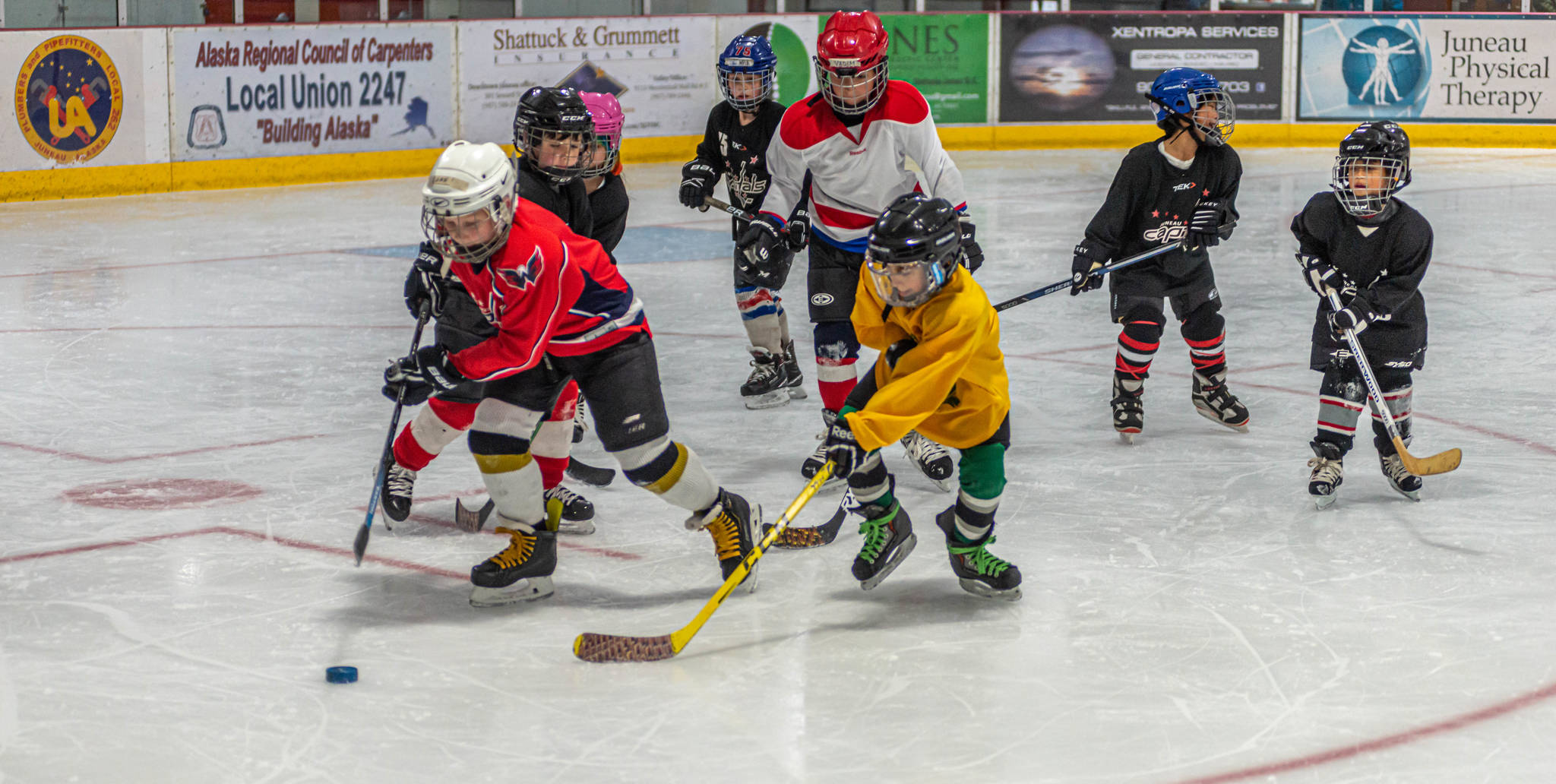 A group of 8-and-under players race toward the puck in a recent pre-season workout at Treadwell Ice Arena. (Courtesy Photo / Steve Quinn)