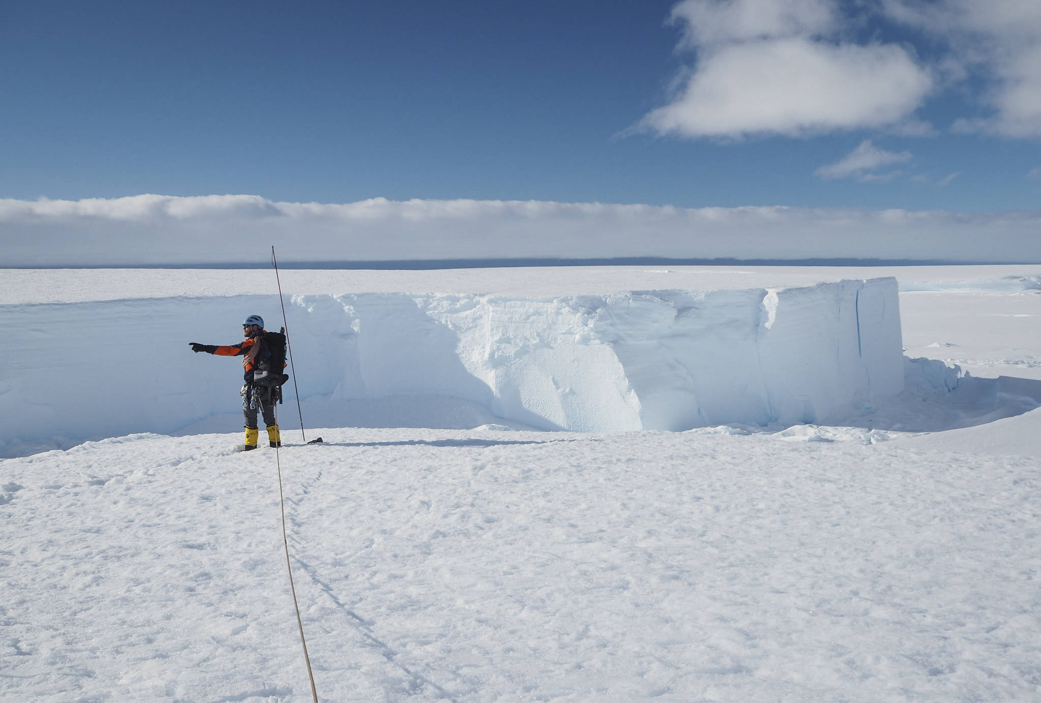 In this handout photo provided by British Antarctic Survey, field guide Andy Hood is seen at the Brunt ice shelf in Antarctica in January 2020. Antarctica remains the only continent without COVID-19 and now in Sept. 2020, as nearly 1,000 scientists and others who wintered over on the ice are seeing the sun for the first time in months, a global effort wants to make sure incoming colleagues don't bring the virus with them. (Robert Taylor/British Antarctic Survey via AP)