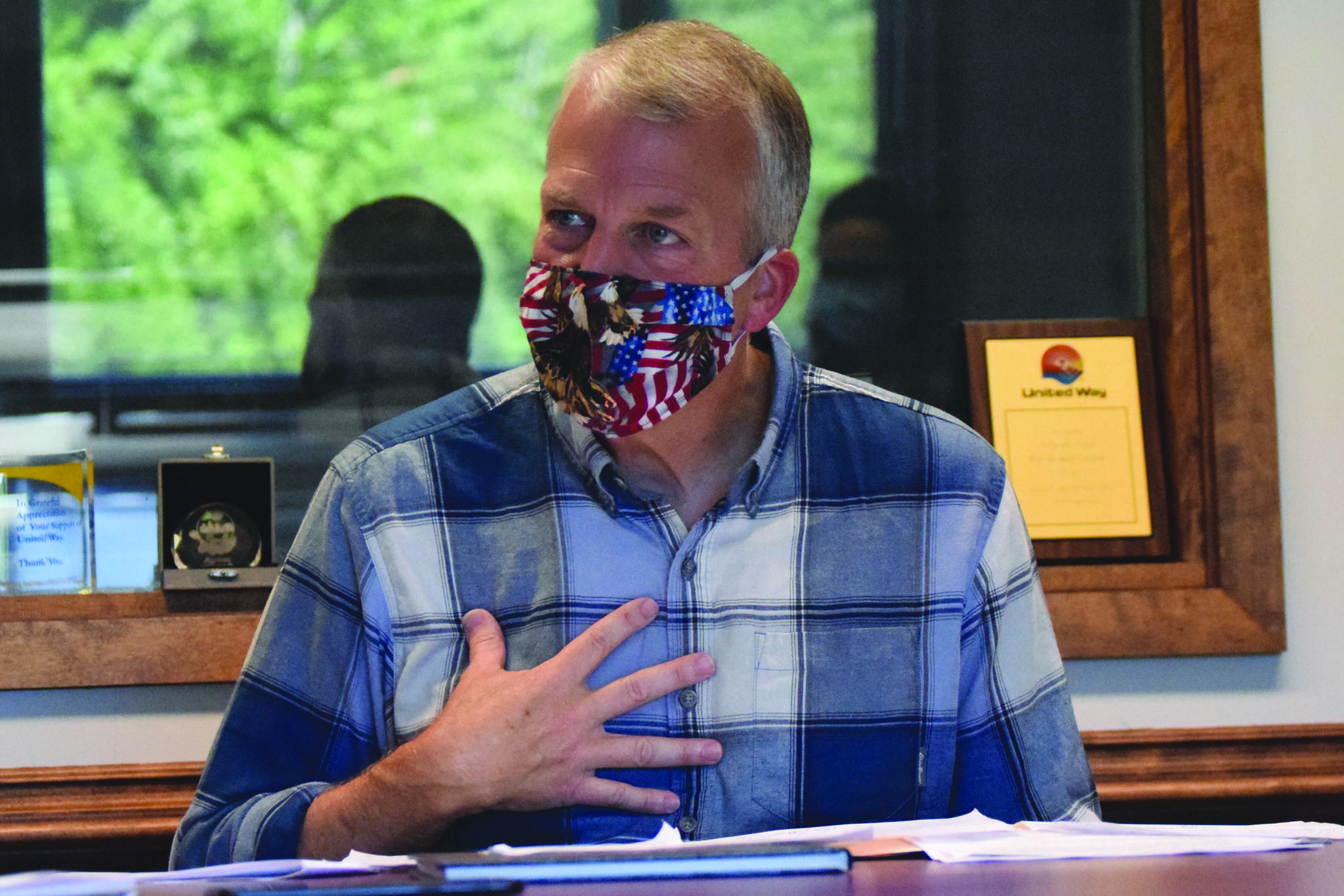 Republican Sen. Dan Sullivan of Alaska sits for an interview Thursday, Aug. 20, 2020, at the Peninsula Clarion in Kenai, Alaska. (Photo by Jeff Helminiak/Peninsula Clarion)