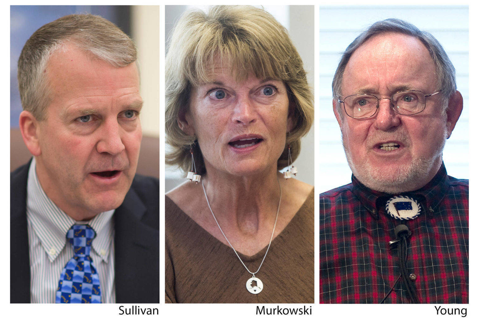 This photo composite shows Alaska's congressional delegation, from left to right, Sen. Dan Sullivan, Sen. Lisa Murkowski, Rep. Don Young, all Republicans. Delegates spoke to the Southeast Conference Annual Meeting on Wednesday, Sept. 23, 2020. (Michael Penn / Juneau Empire File)