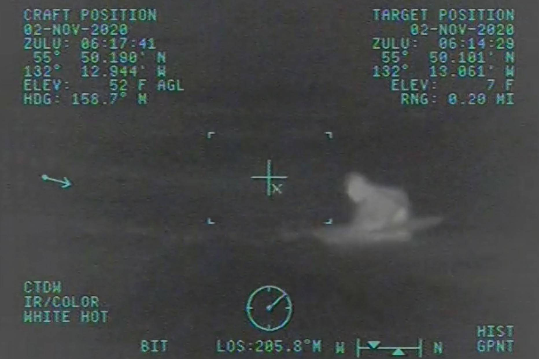 Coast Guard personnel from Coast Guard Air Station Sitka rescued a 70-year-old man from the water near Union Bay on Nov. 1, 2020. (Screenshot / U.S. Coast Guard)