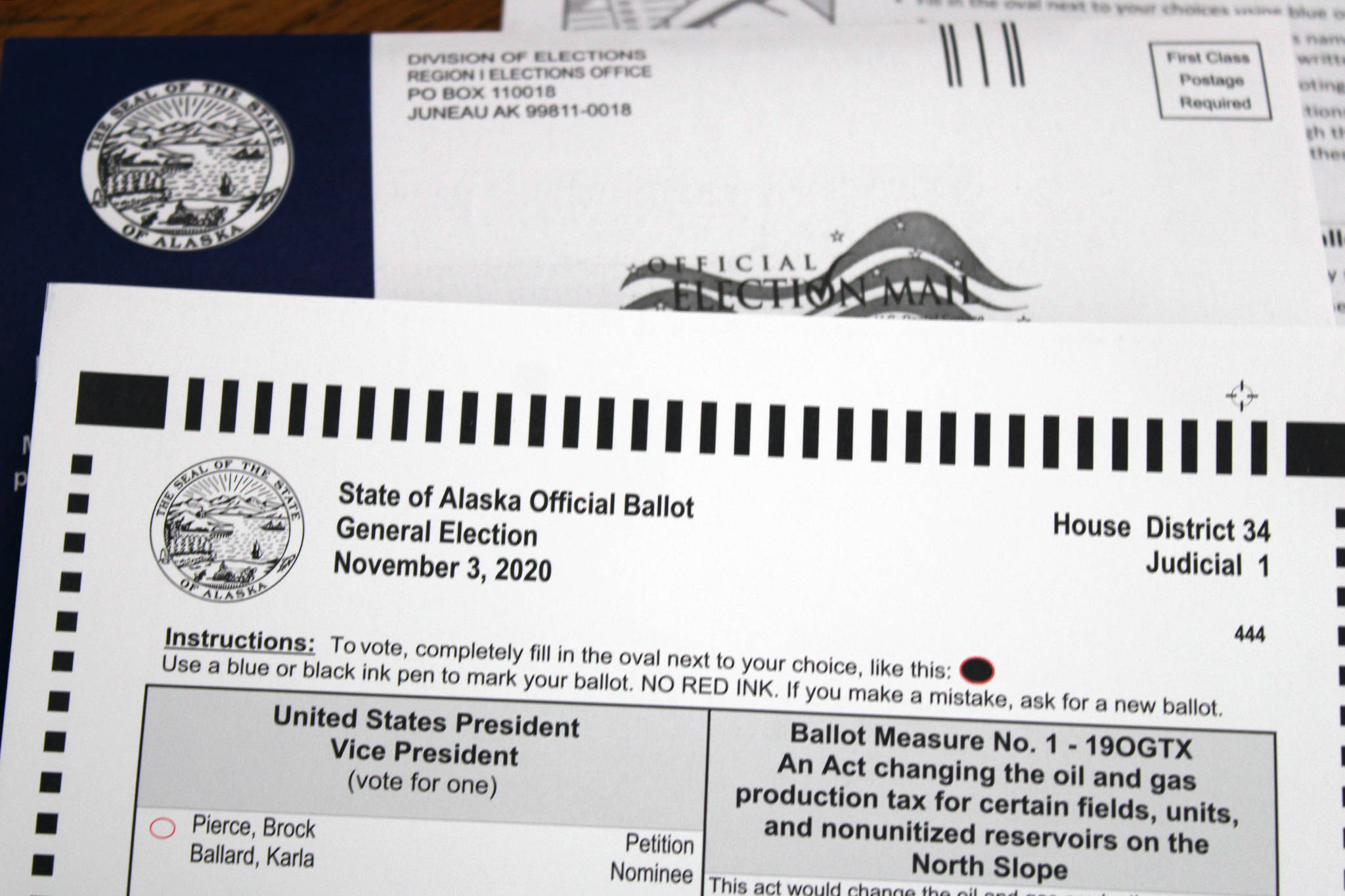 This photo shows a by-mail ballot sent to an Alaska voter in October. (Ben Hohenstatt / Juneau Empire File)