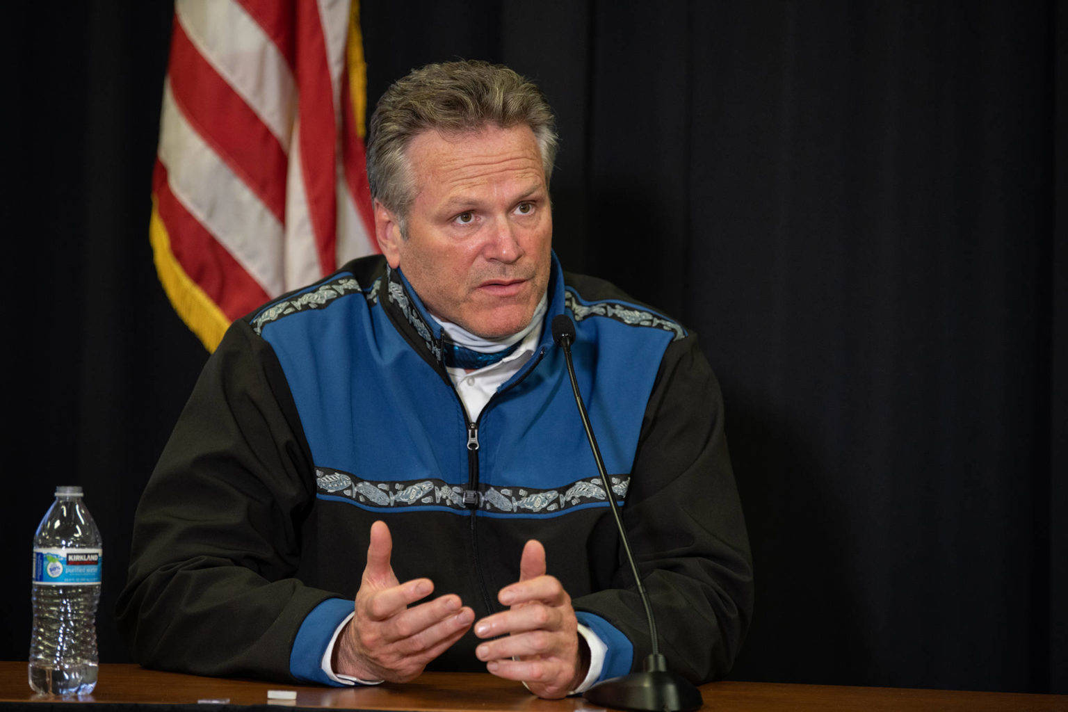 Gov. Mike Dunleavy speaks during a virtual town hall meeting on Sept. 15. (Courtesy Photo / Office of Gov. Mike Dunleavy)