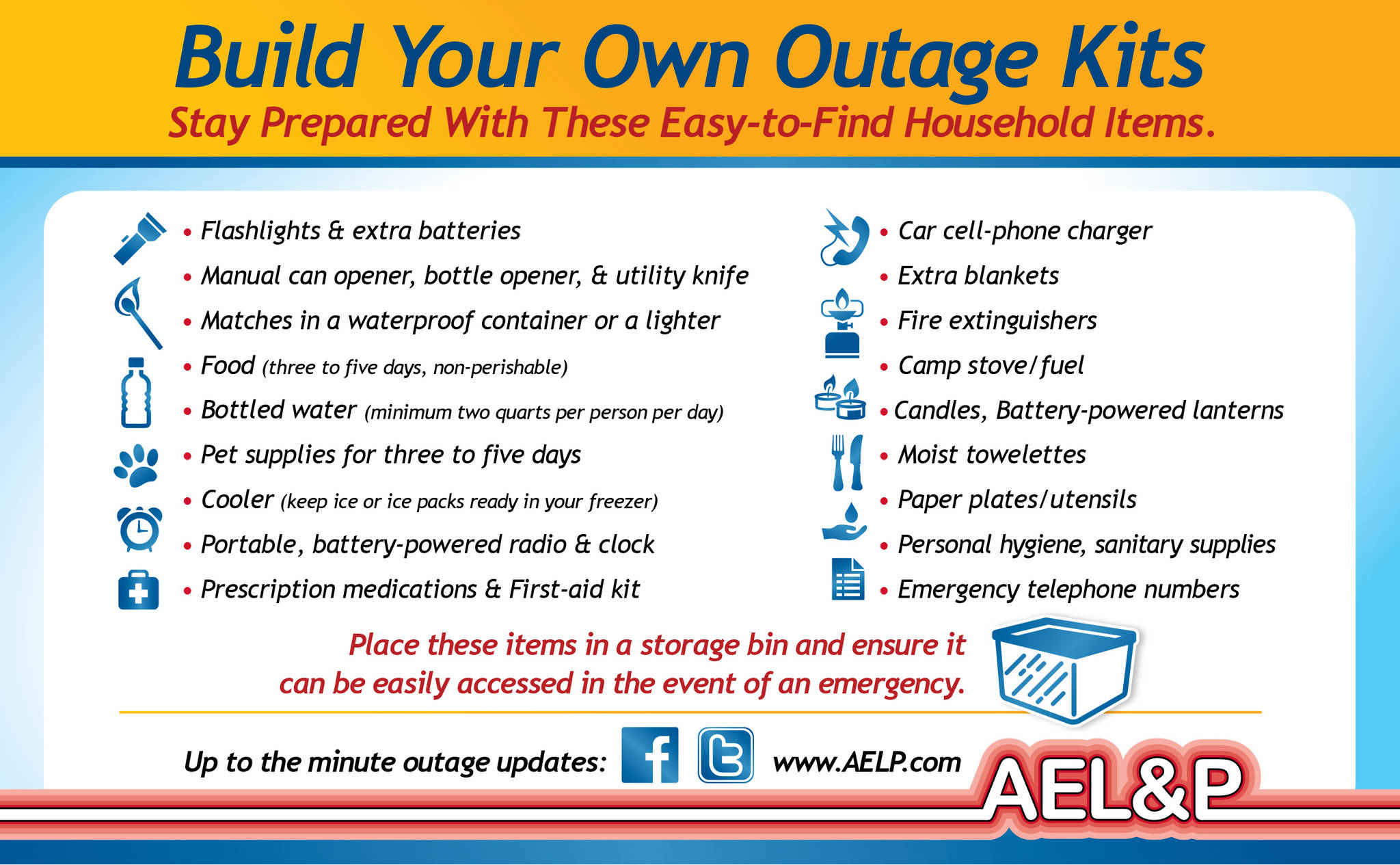 Alaska Electric Light and Power recommends preparing a kit for power outages. (Courtesy art / AEL&P)