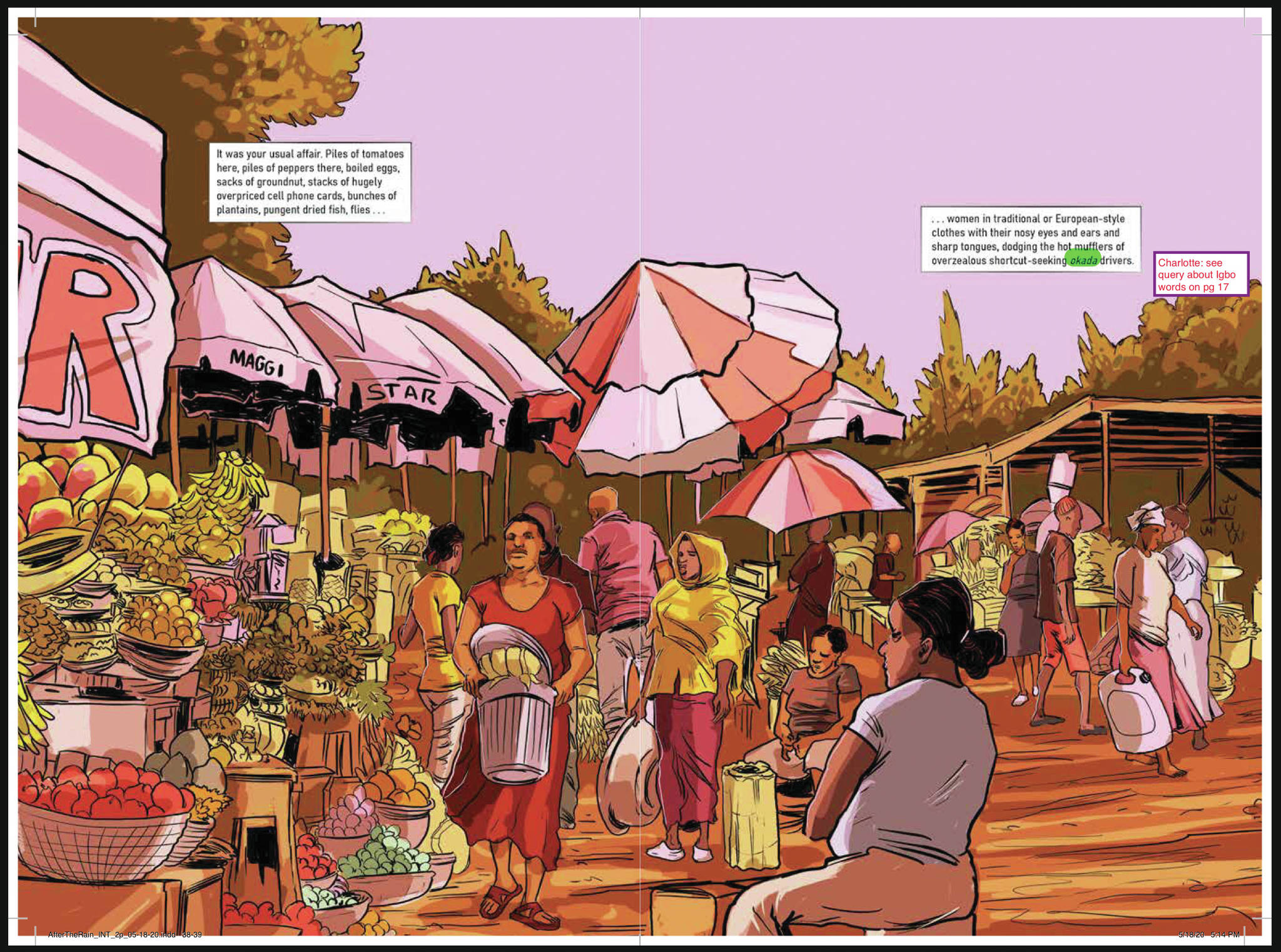 """A page from David Brame's """"After the Rain,"""" adapted from Nnedi Okorafor's short story """"On the Road."""" (Photo courtesy David Brame)"""