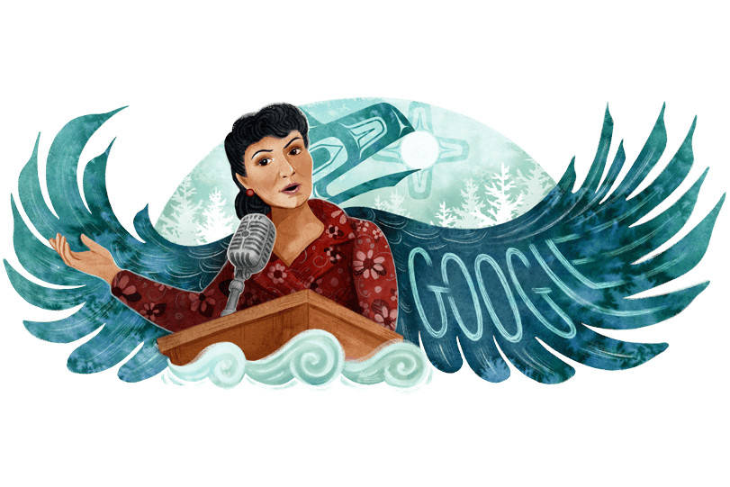 Elizabeth Peratrovich was featured in a Google Doodle, seen above, on Dec. 30, 2020. The Tlingit civil rights activist was illustrated by a Sitka-based Tlingit artist for the tech company. (Courtesy Image / Google)