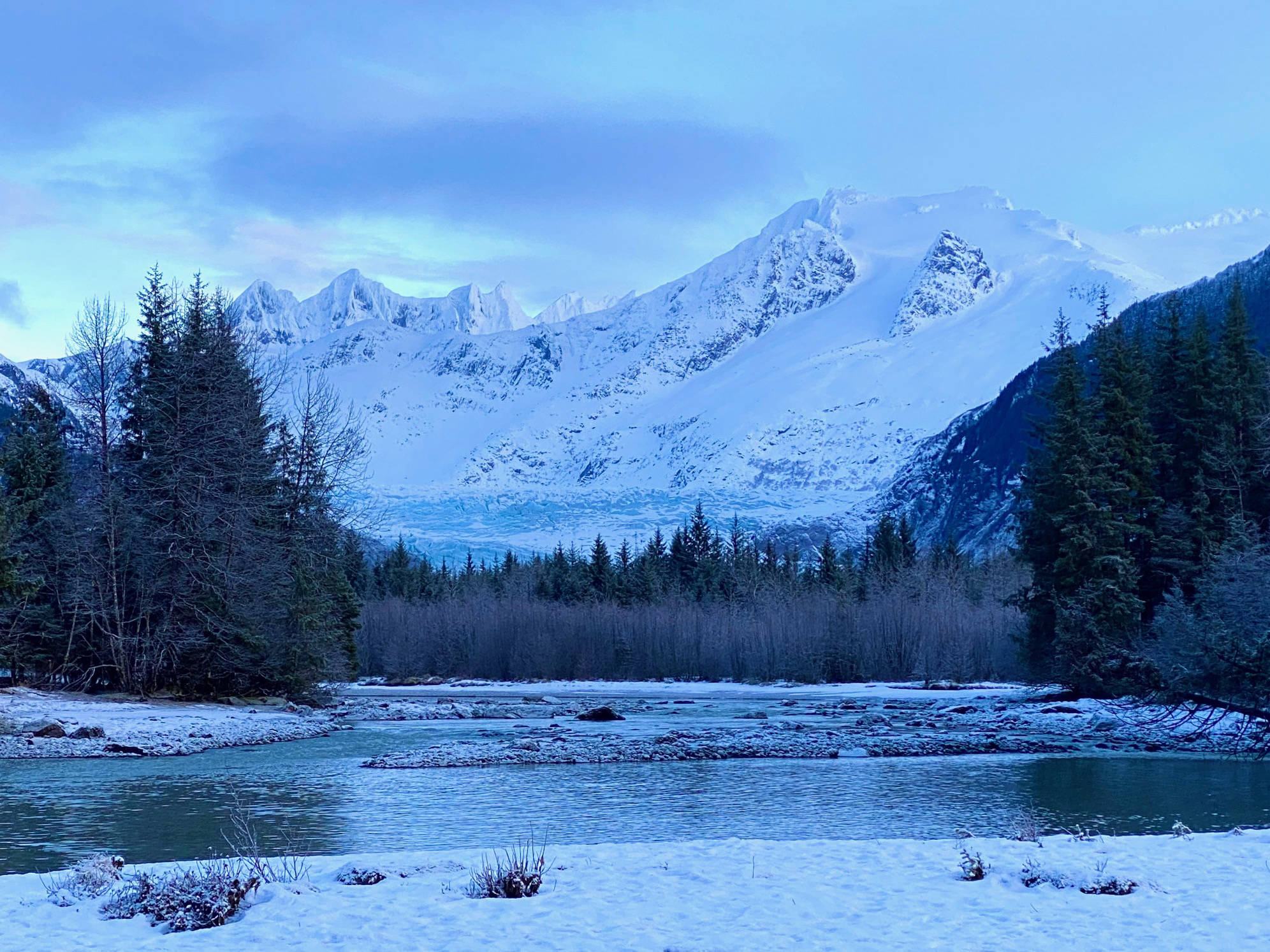 Mendenhall Glacier and Towers and Mount Wrather as seen from a Dredge Lake trail on Jan. 2. (Courtesy Photo / Denise Carroll)