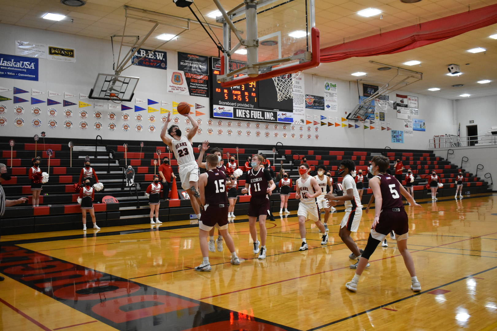 Juneau-Douglas High School Yadaa.at Kalé senior Cooper Kriegmont shoots during a basketball game against Ketchikan on Friday, Jan. 22, 2021. Kriegmont scored his 1,000th point during the two-game series. (Courtesy photo / Lexie Razor)