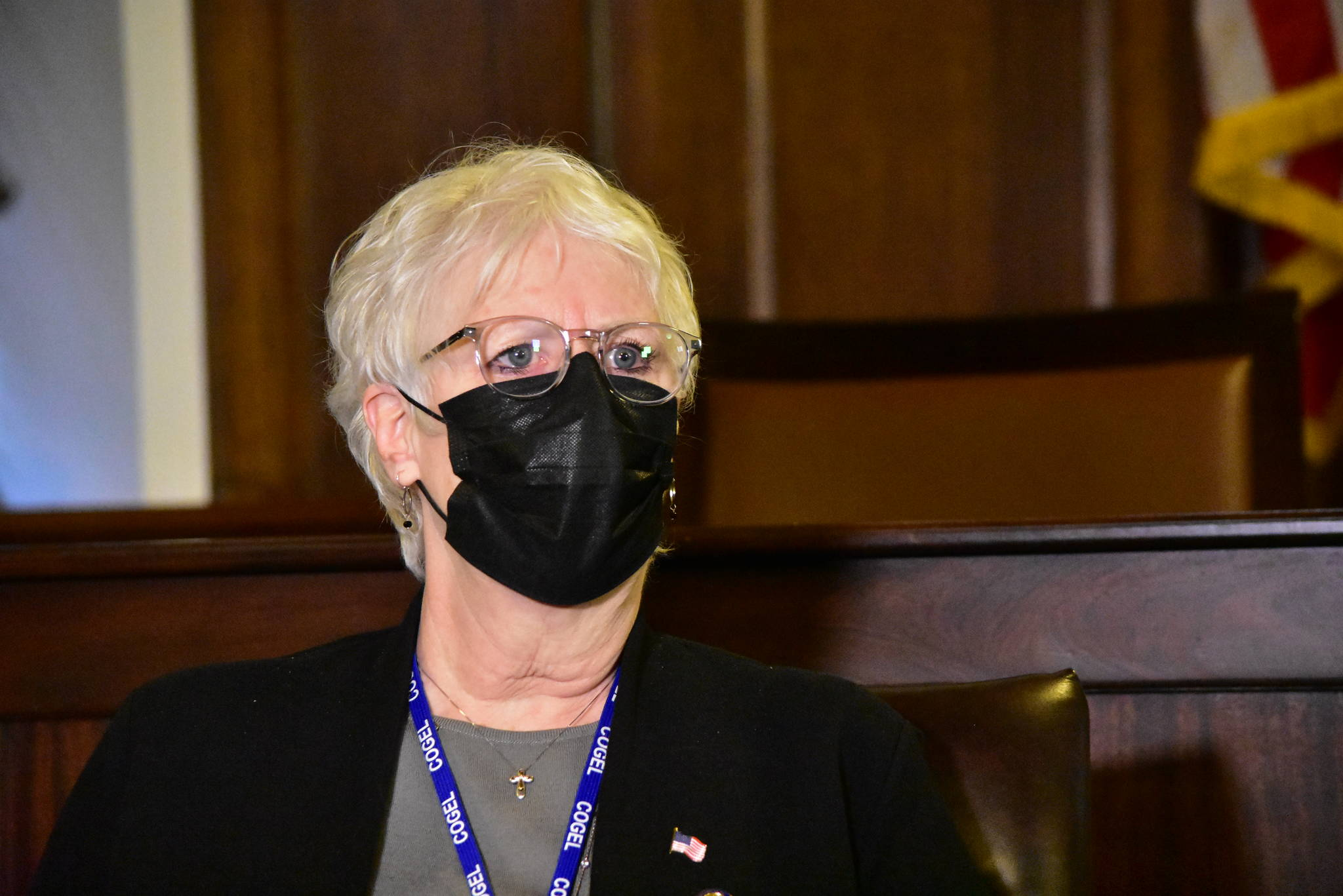 Speaker of the House Rep. Louise Stutes, R-Kodiak, speaks with reporters on Thursday, Feb. 18, 2021 after lawmakers were able put together enough of a coalition to organize itself and begin legislative work. (Peter Segall / Juneau Empire)