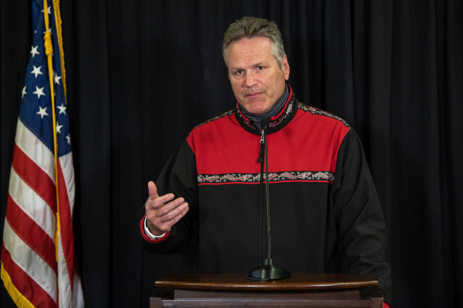 Gov. Mike Dunleavy speaks during an August news conference. On thursday, Dunleavy withdrew an executive order reorganizing the state's largest department, the Department of Health and Social Services, after lawmakers sought to block it. (Courtesy Photo / Office of Gov. Mike Dunleavy)