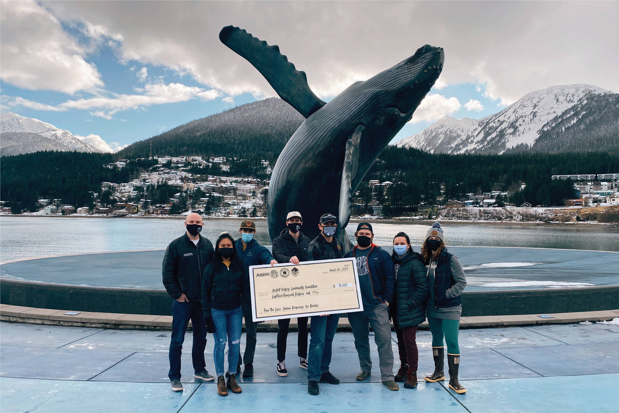 "Juneau's breweries, with a funds-matching donation from the Rasmuson Foundation, donated $36,000 to the Chilkat Valley Community Foundation to assist with relief from last year's fatal landslides as part of the ""Pour the Love"" fundraiser on March 30, 2021. (Courtesy photo / Meghan Chambers)"