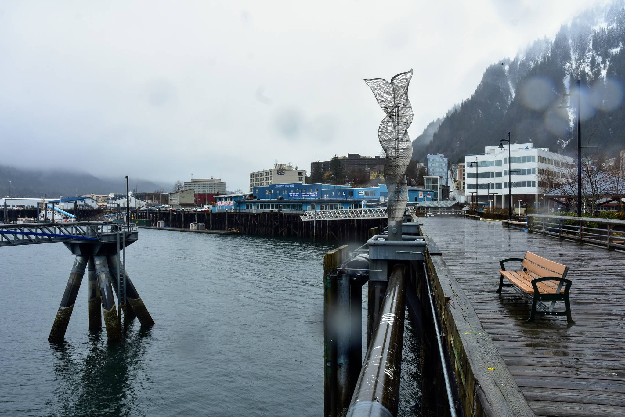 Juneau's downtown waterfront sits empty on Monday, April 5, 2021. In a typical year businesses would be getting ready for the flood of local tourists but with the COVID-19 pandemic still ongoing, Alaska's cruise ship season remains uncertain. (Peter Segall / Juneau Empire)
