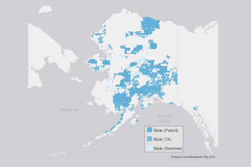State officials are trying to facilitate the transfer of federal lands to the University of Alaska but where those lands are hasn't yet been determined. What is known is the lands will be drawn from the state's allotment of federal lands granted to it under statehood, seen here in this July 30, 2020 Bureau of Land Management map. (Courtesy Image / U.S. Bureau of Land Management)