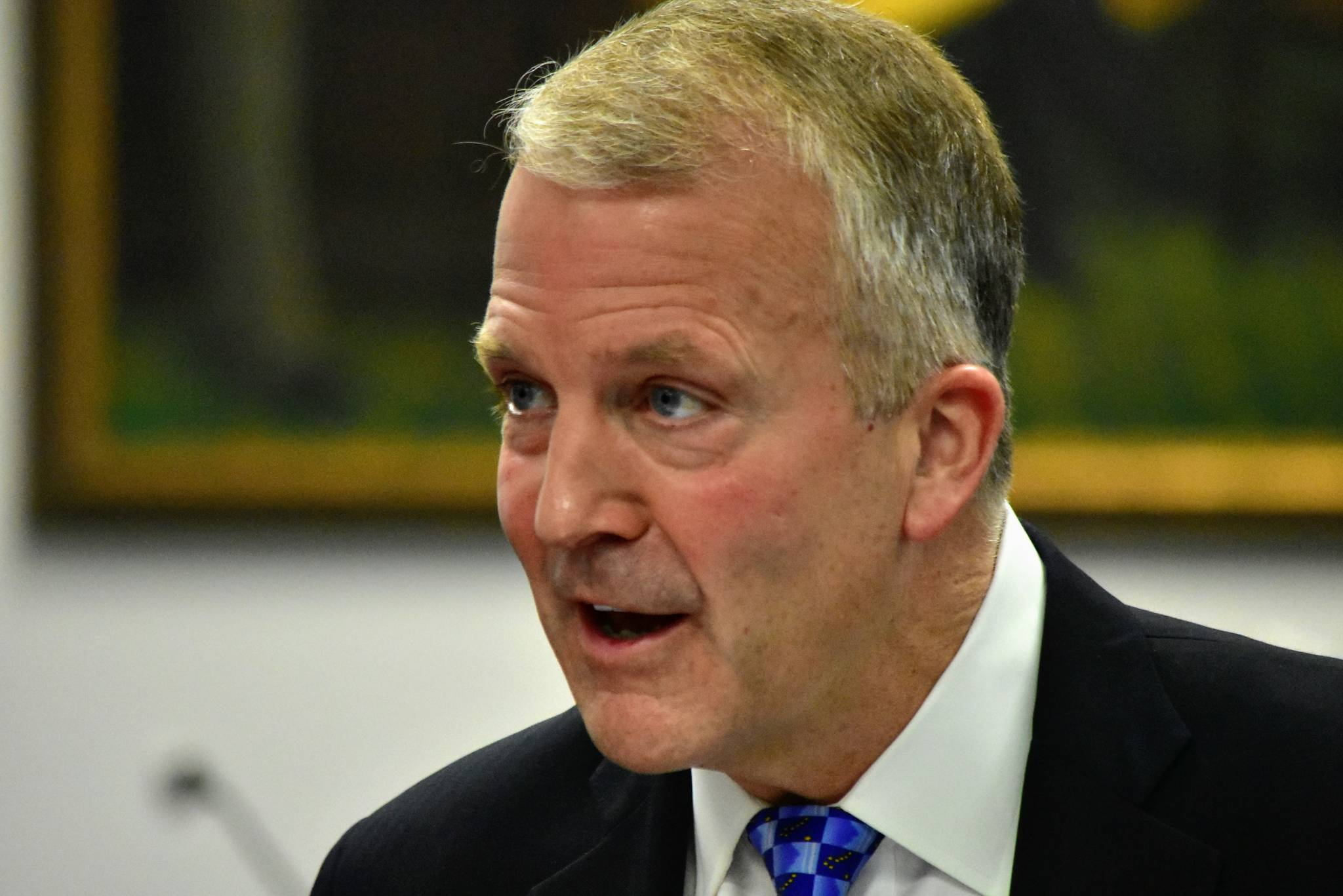 Sen. Dan Sullivan, R-Alaska, met with reporters after delivering an address to the first joint session of 2021 for the Alaska State Legislature on Monday, May 3, 2021. Sullivan was critical of the Biden administration in his remarks to lawmakers, saying his environmental policies were punative to Alaska. (Peter Segall / Juneau Empire)