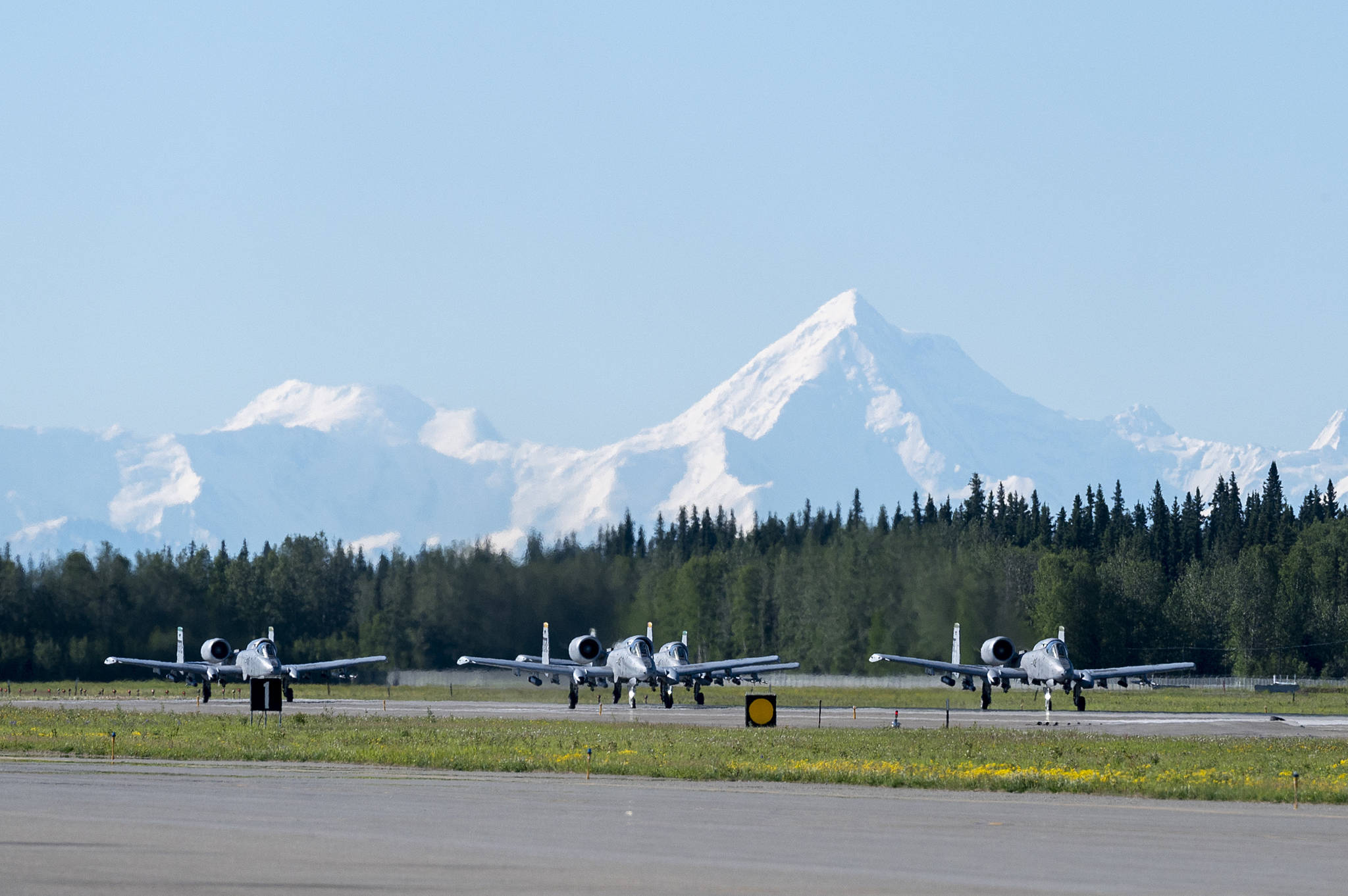 A-10 Thunderbolt II aircraft assigned to the 25th Fighter Squadron taxi during exercise Red Flag-Alaska 21-02 at Eielson Air Force Base, Alaska, June 14, 2021. (Tech. Sgt. Peter Thompson / U.S. Air Force)