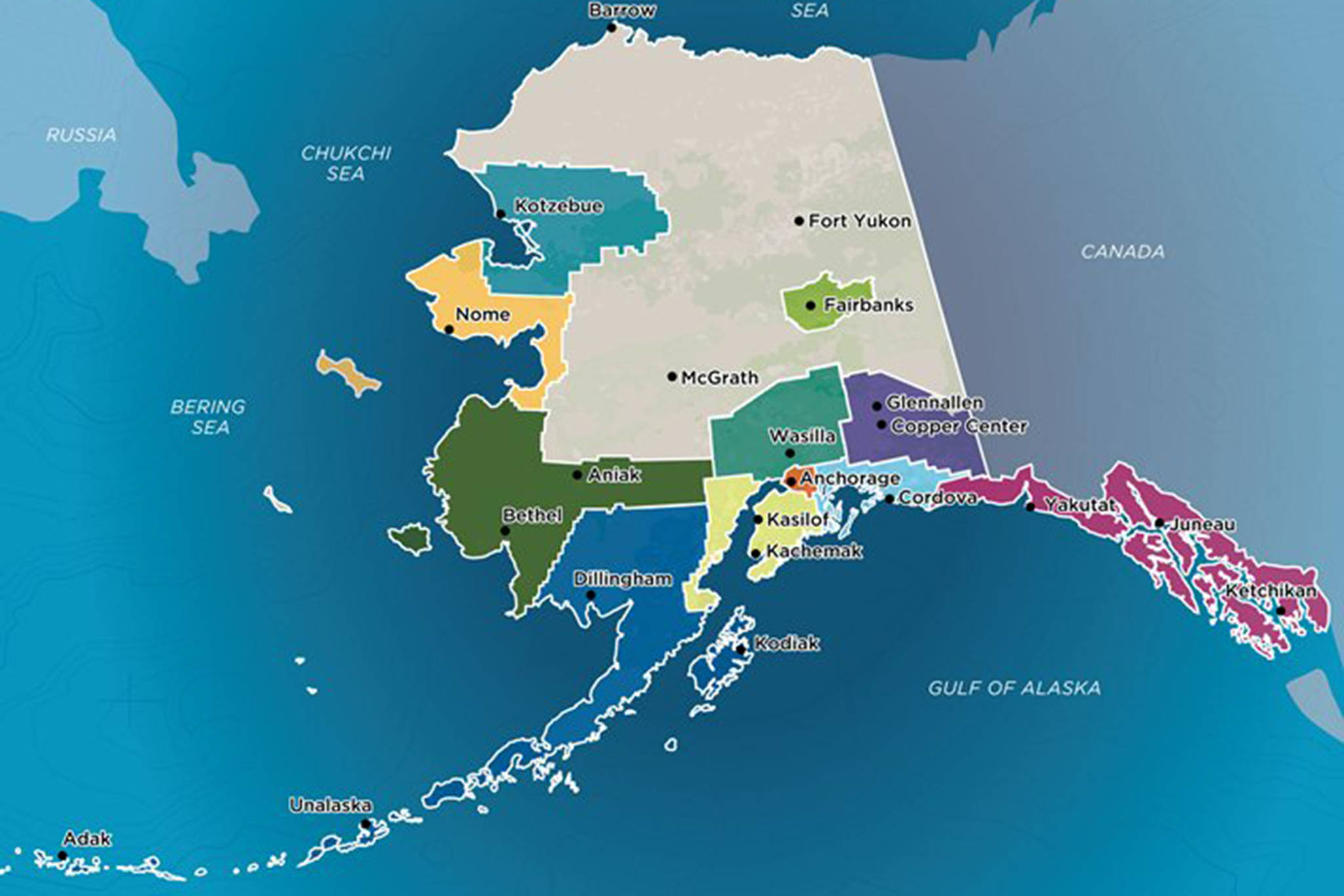 This screenshot from the state Division of Community and Regional Affairs website shows a map of Alaska Regional Development Organizations. (Screenshot)