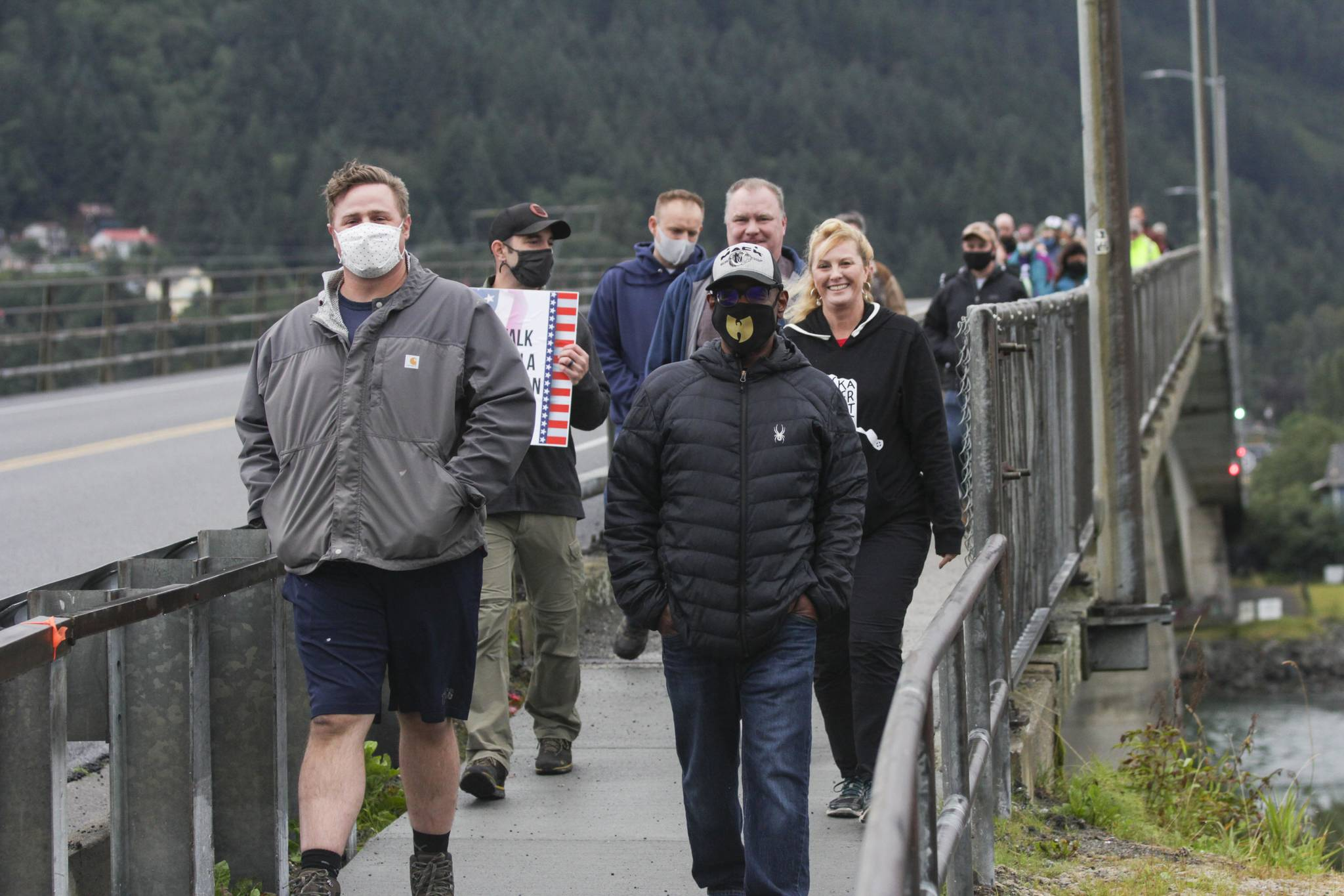 Juneau residents and veterans gathered on Tuesday, Aug. 24, 2021 for Together with Juneau Veterans' first Walk with a Vet event across the Douglas Bridge. (Michael S. Lockett / Juneau Empire)