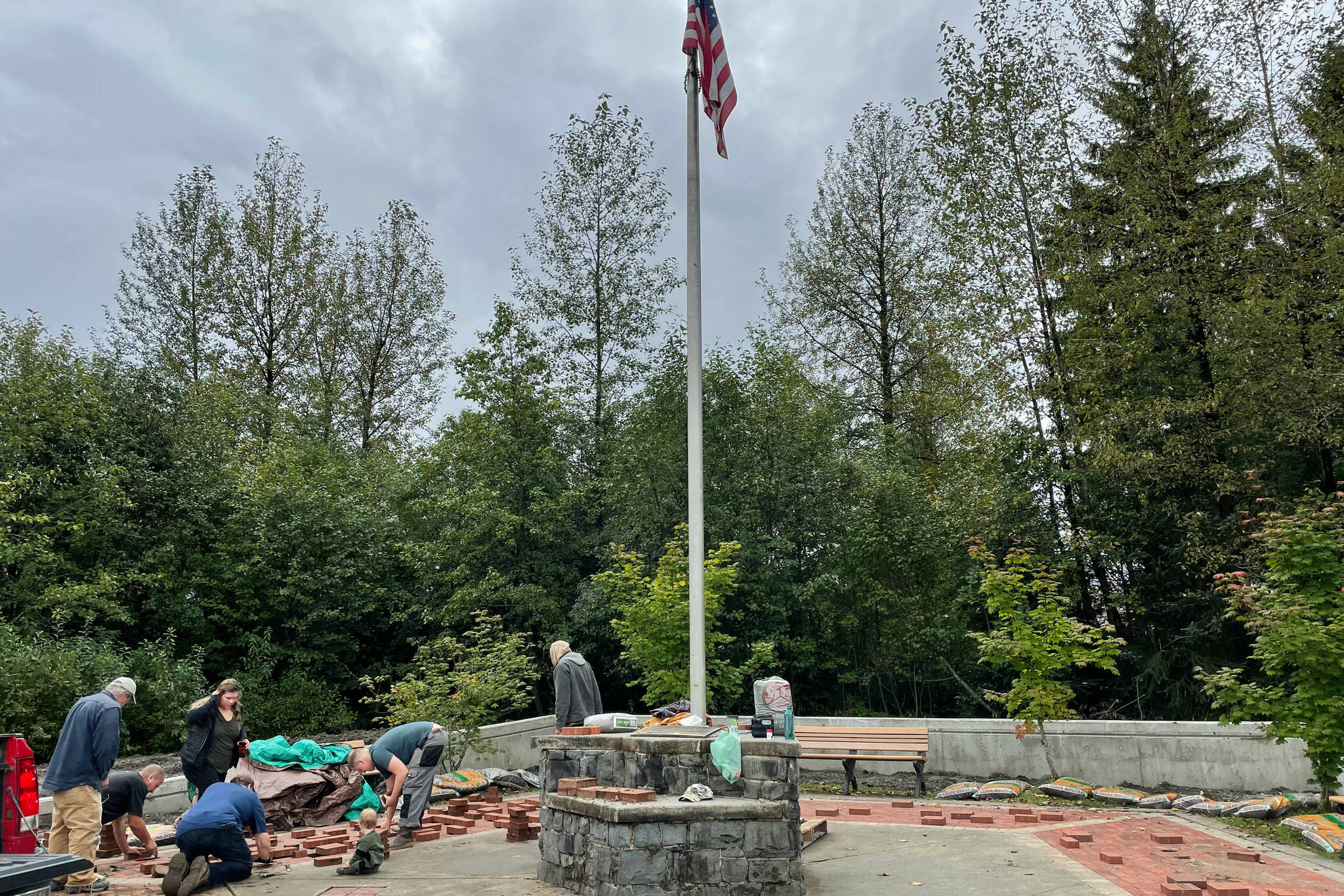 Michael S. Lockett / Juneau Empire  Juneau Glacier Valley Rotary Club's 9/11 memorial, shown undergoing beautification and final preparations before the ceremony, will be the site of the organization's ceremony for the 20th anniversary of the attacks on Saturday.